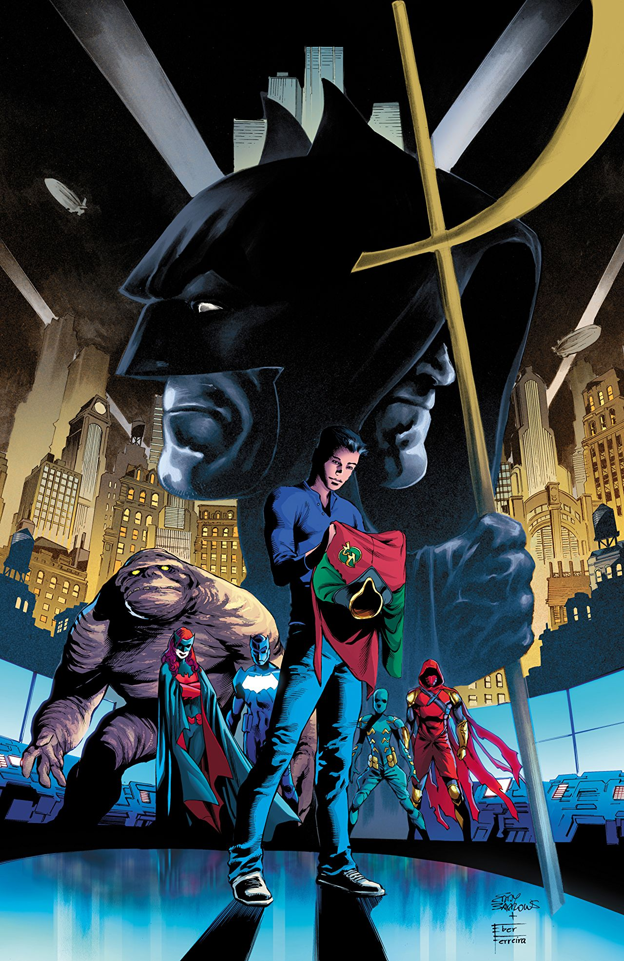 Tim Drake (center) on the cover of Detective Comics #965, DC Comics (2017).