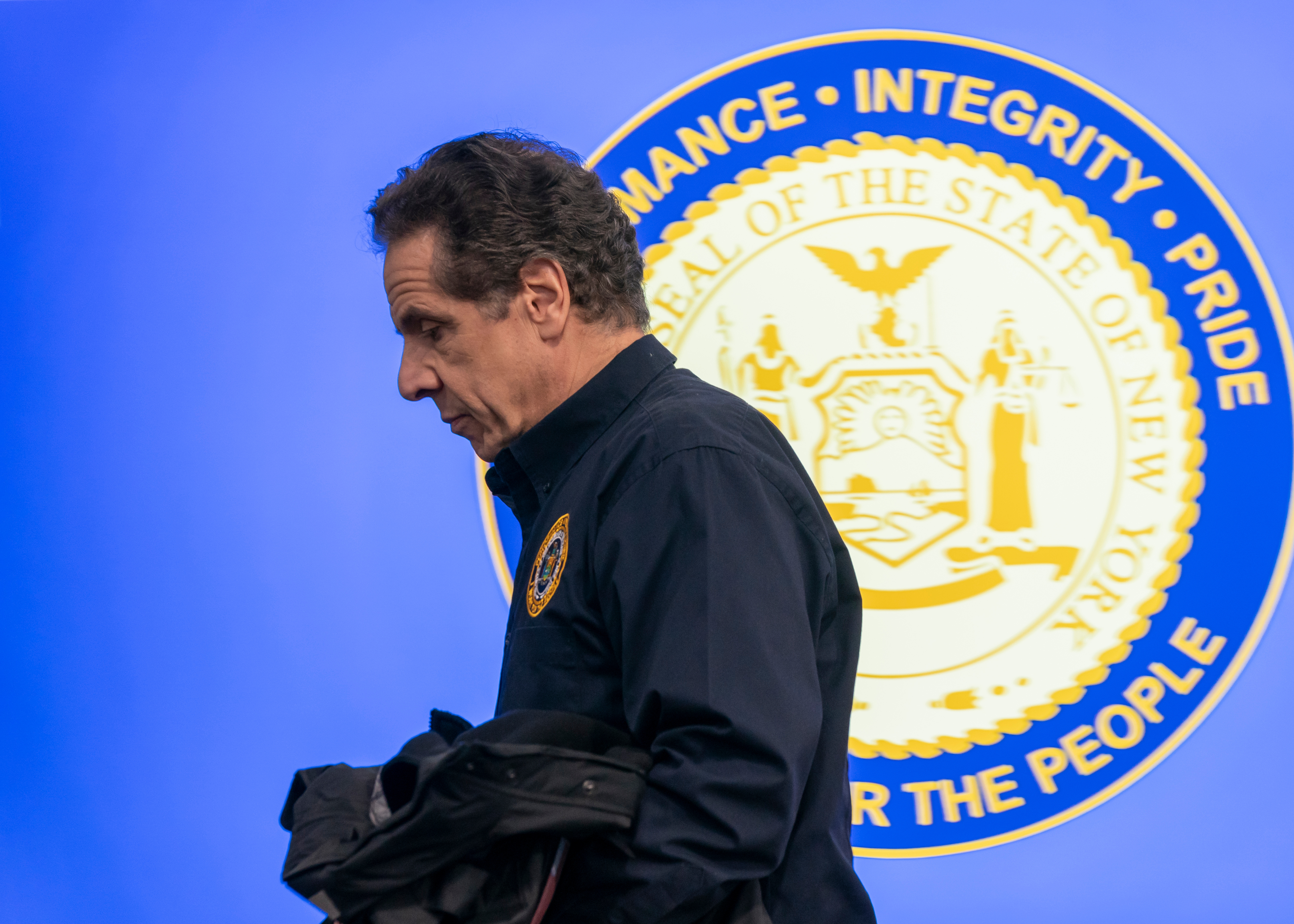 New York, NY - March 24, 2020: Governor Andrew Cuomo speaks to media during daily briefing on COVID-19 pandemic at Jacob Javits Convention Center.