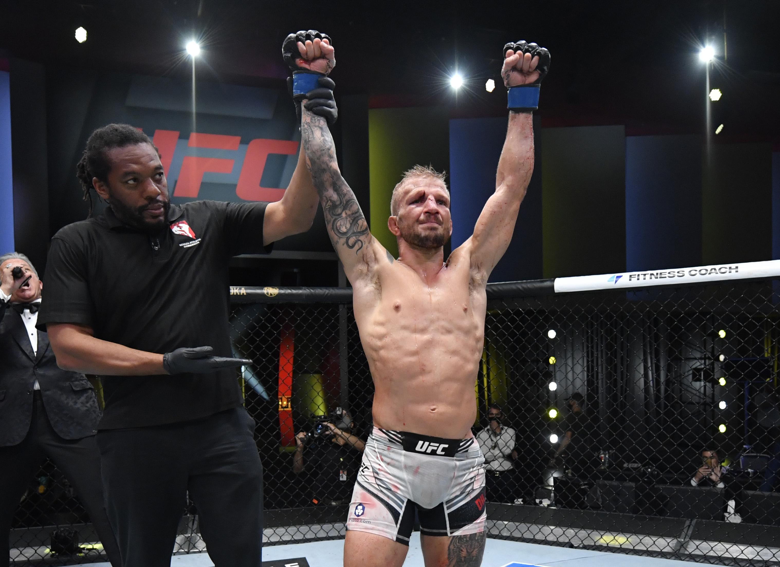T.J. Dillashaw after his split decision victory over Cory Sandhagen at UFC Vegas 32.