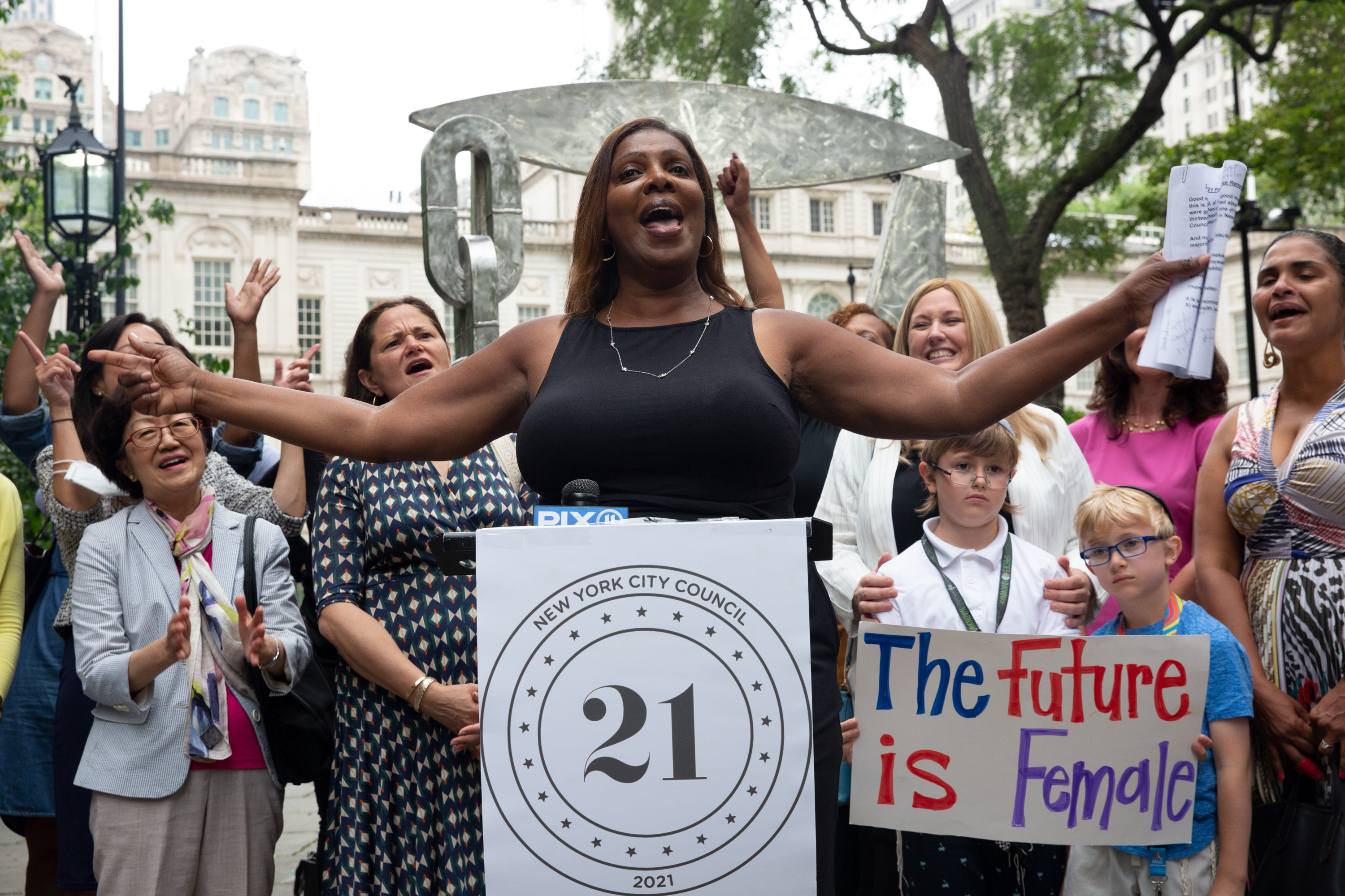 New York State Attorney General Letitia James speaks at a rally in City Hall Park supporting female candidates, July 13, 2021.