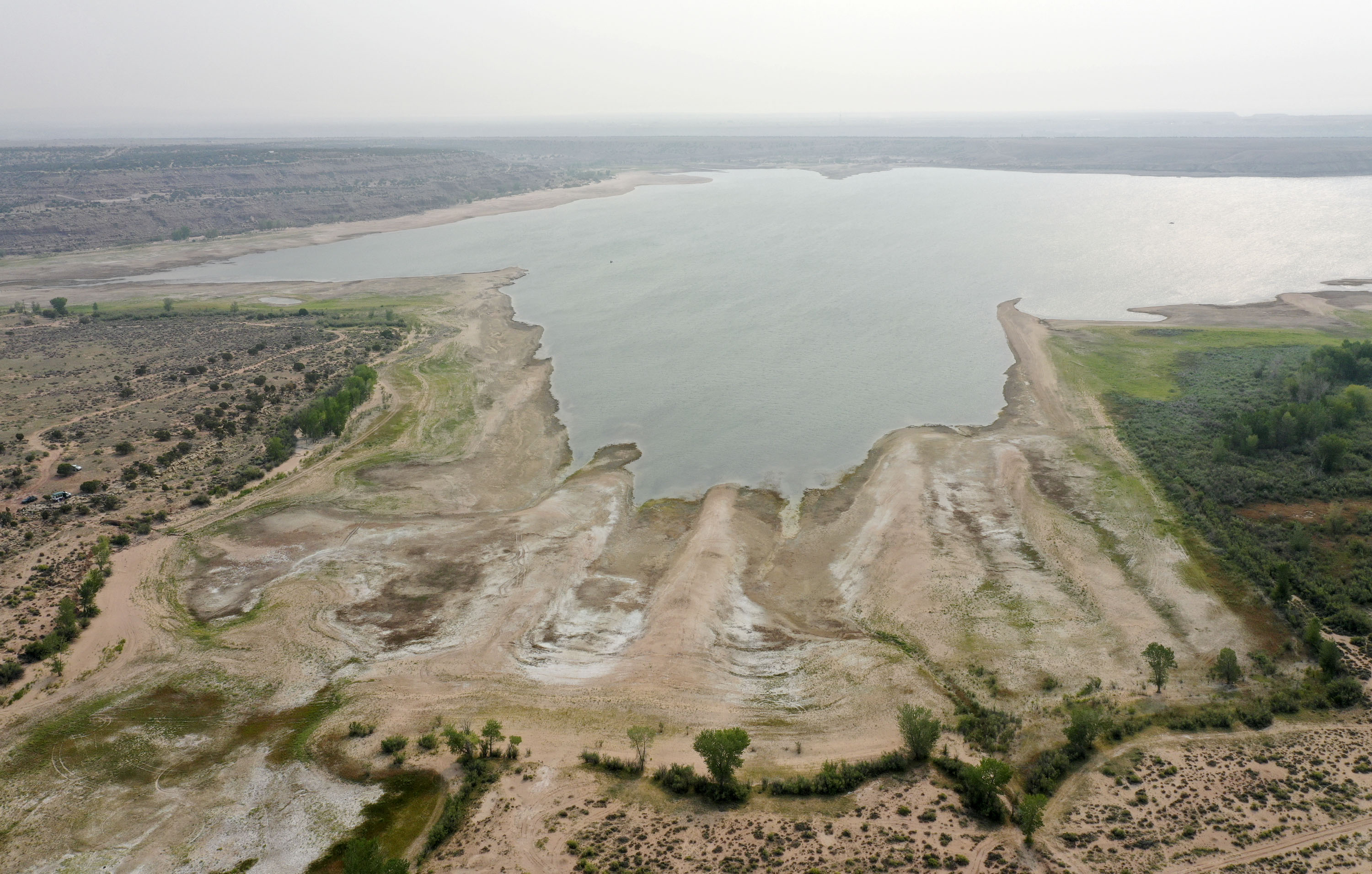Low water levels are pictured at Starvation Reservoir in Duchesne County on Monday, Aug. 9, 2021.
