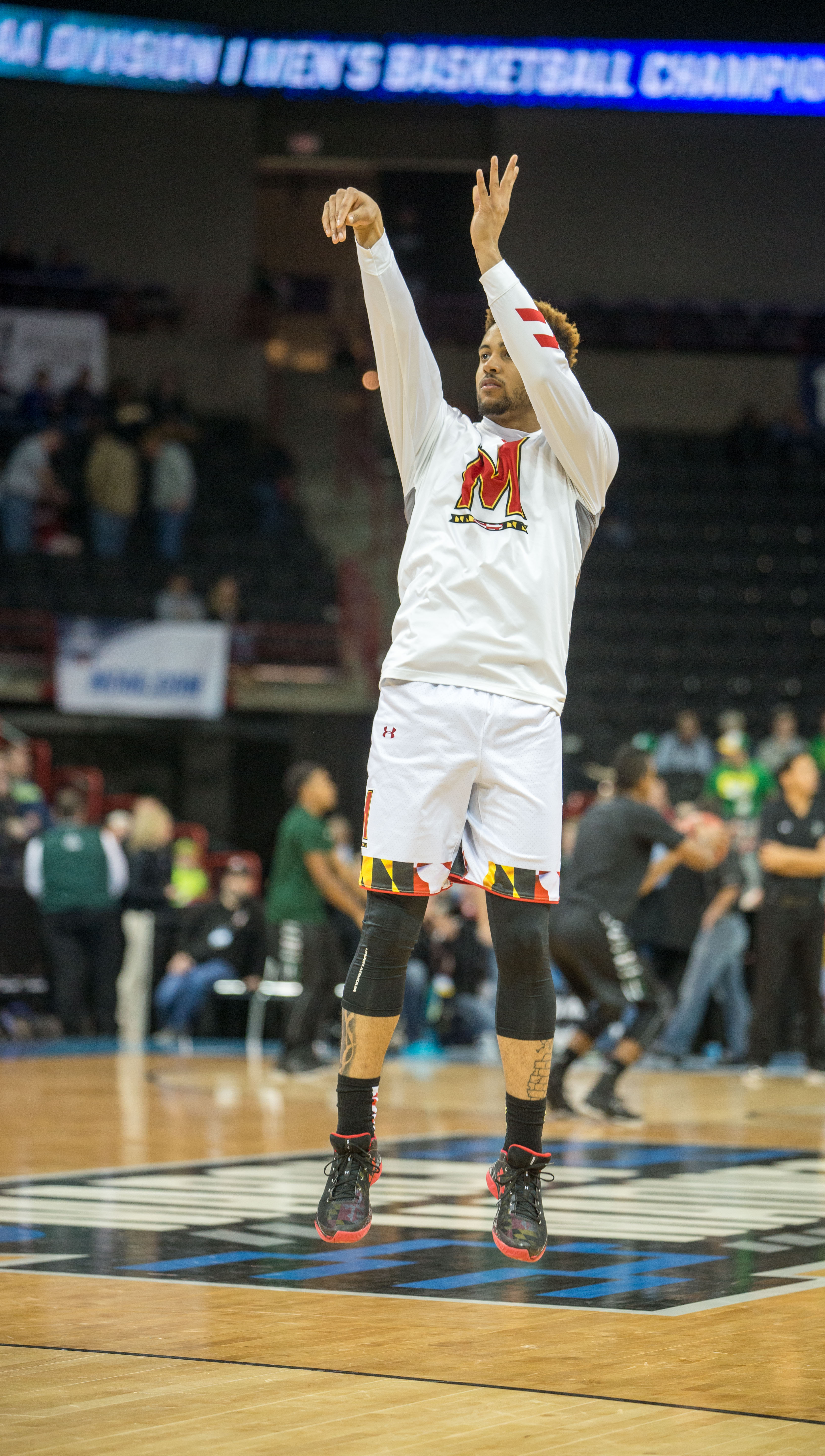 Melo Trimble warms up before Maryland's game against Hawaii.