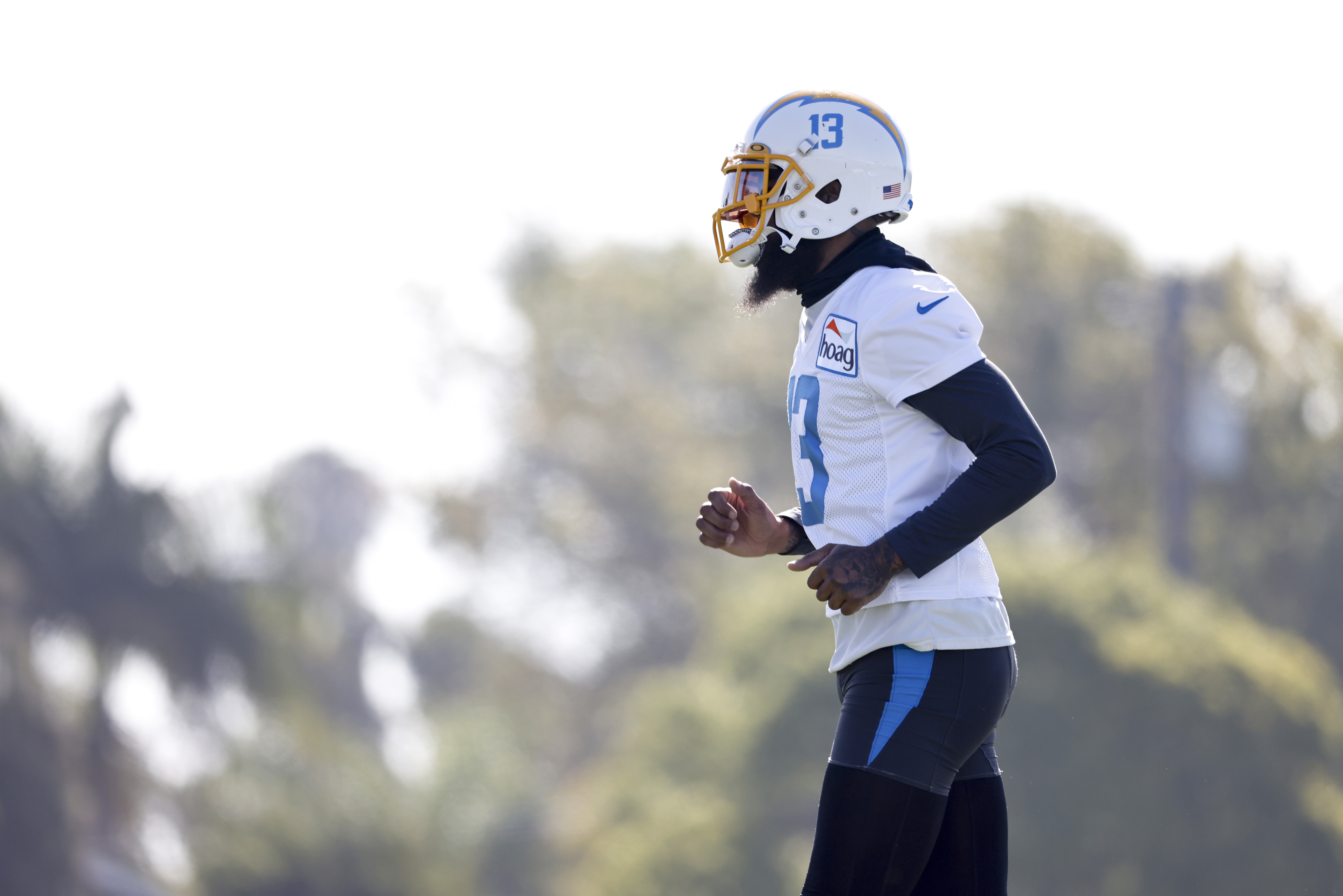 Keenan Allen #13 of the Los Angeles Chargers practices during Los Angeles Chargers Training Camp at Jack Hammett Sports Complex on July 29, 2021 in Costa Mesa, California.