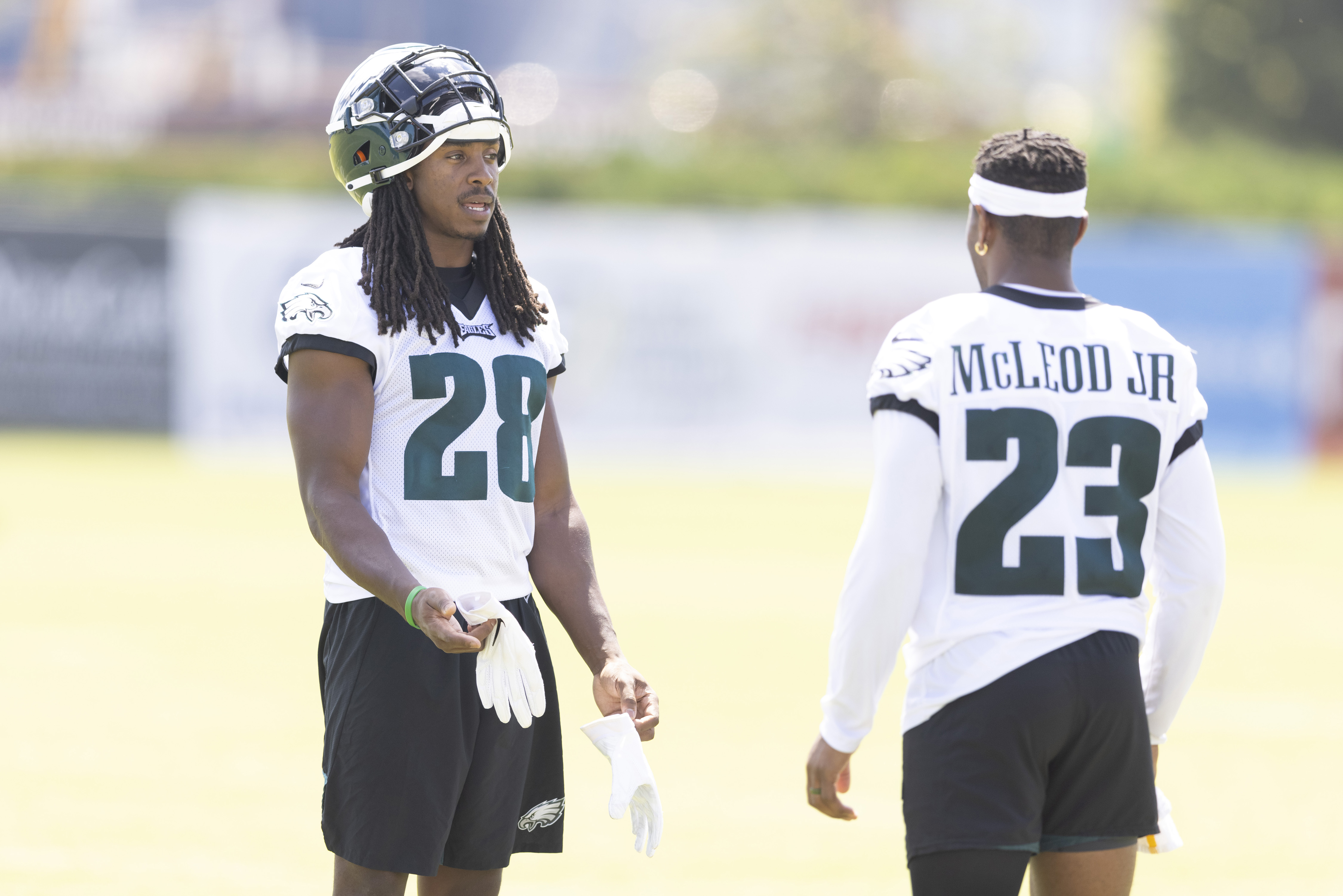Rodney McLeod #23 of the Philadelphia Eagles talks with Anthony Harris #28 during training camp at the NovaCare Complex on August 5, 2021 in Philadelphia, Pennsylvania.