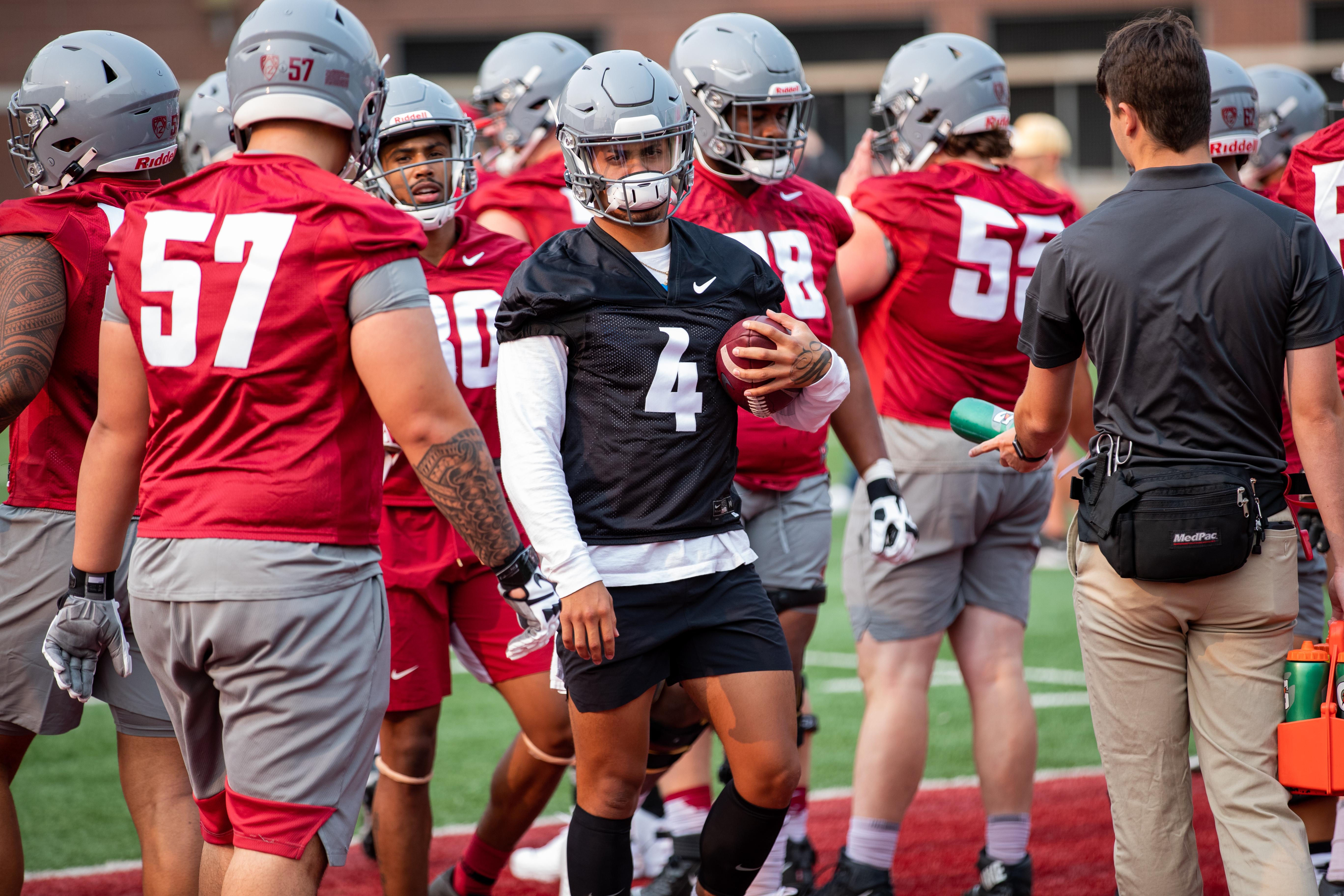 Washington State University Football Fall Practice 1 - Jayden De Laura (4)