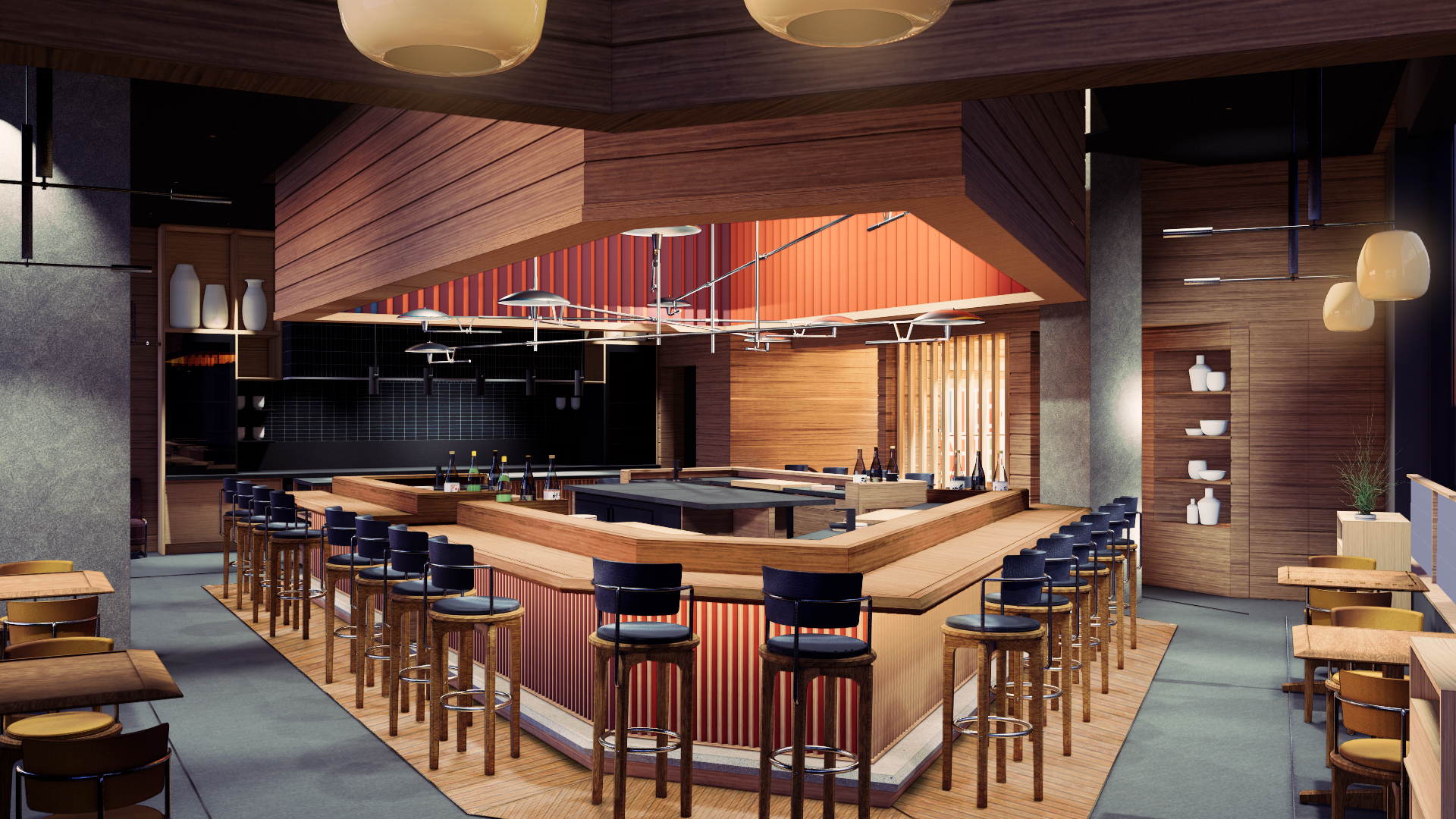 Rendering of Akiko's Restaurant at the Avery