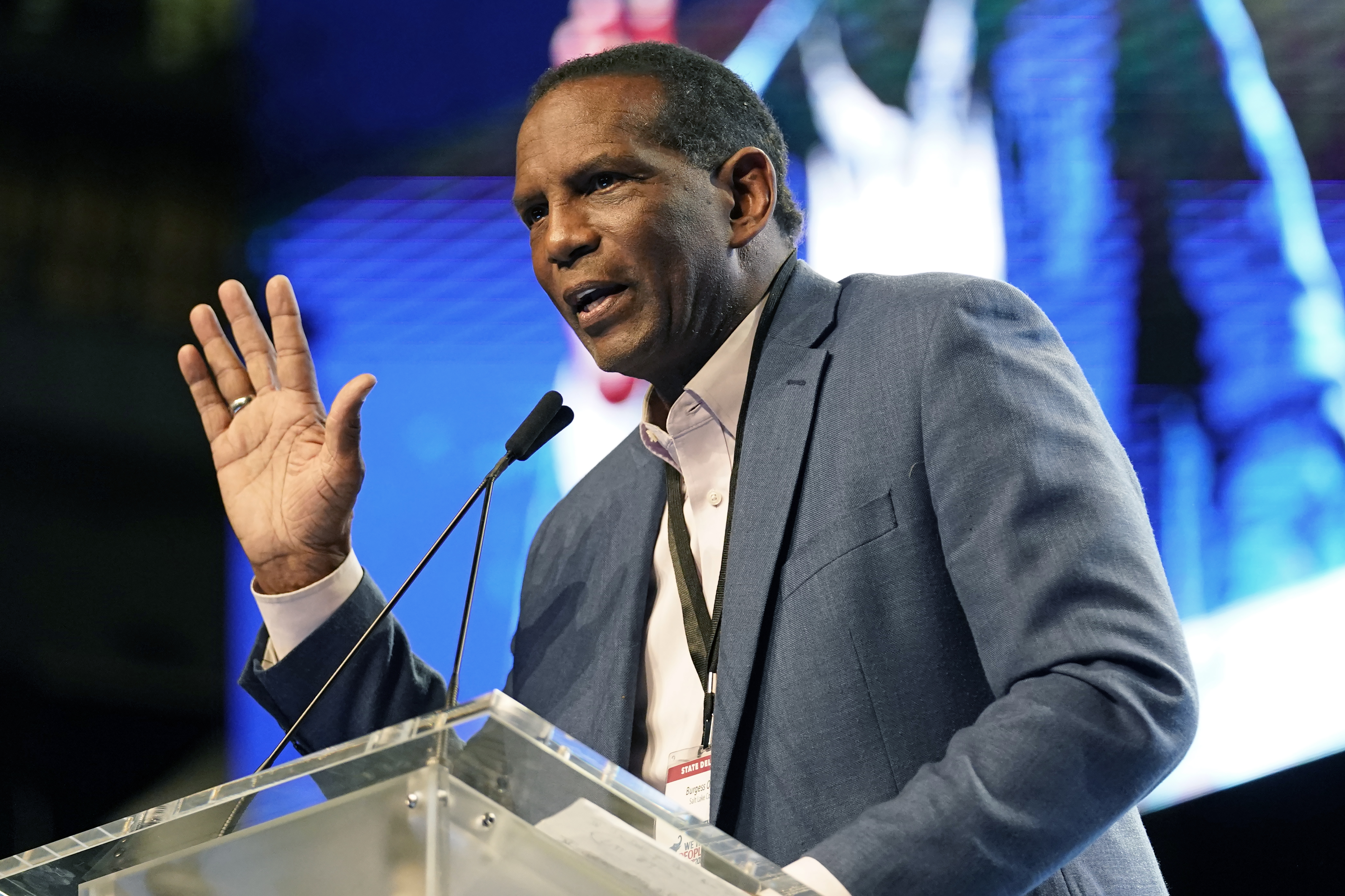 Rep. Burgess Owens addresses delegates attending the Utah Republican Party's 2021 Organizing Convention in West Valley City.