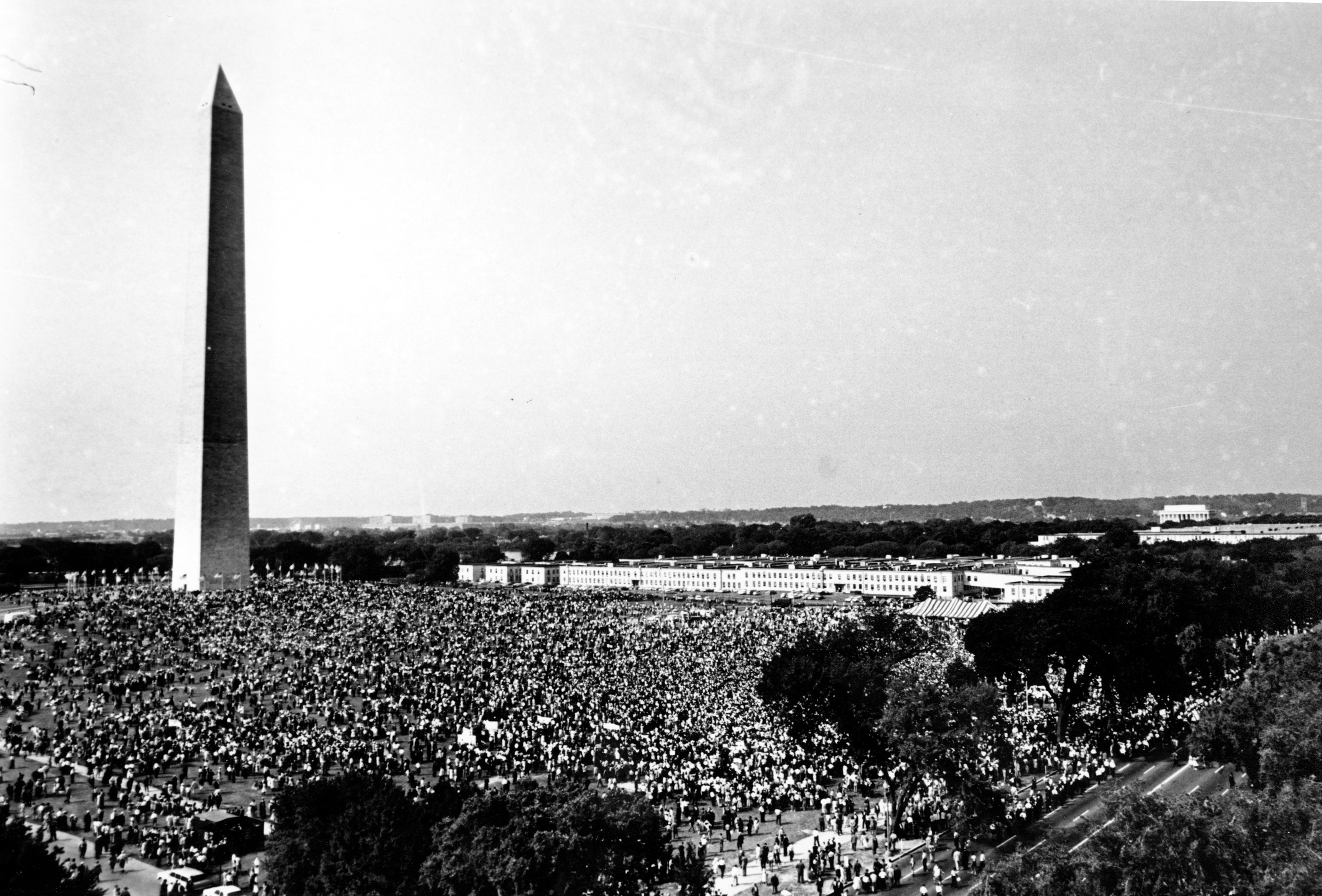 Thousands gather at the Washington Monument grounds on Aug. 28, 1963 before marching to the Lincoln Memorial.