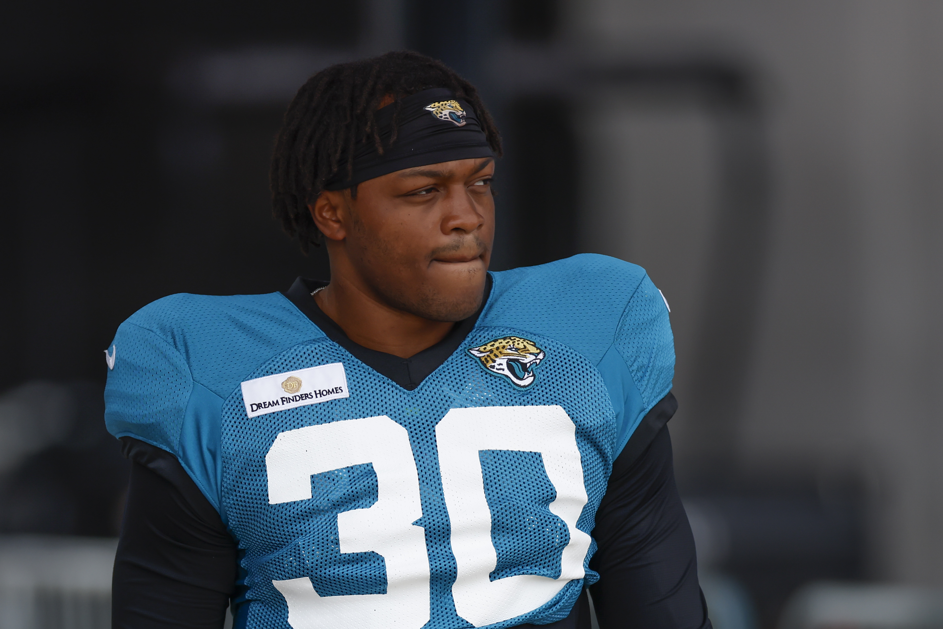Jacksonville Jaguars Running Back James Robinson (30) during training camp on August 3, 2021 at DreamFinders Homes Practice Complex in Jacksonville, Fl.