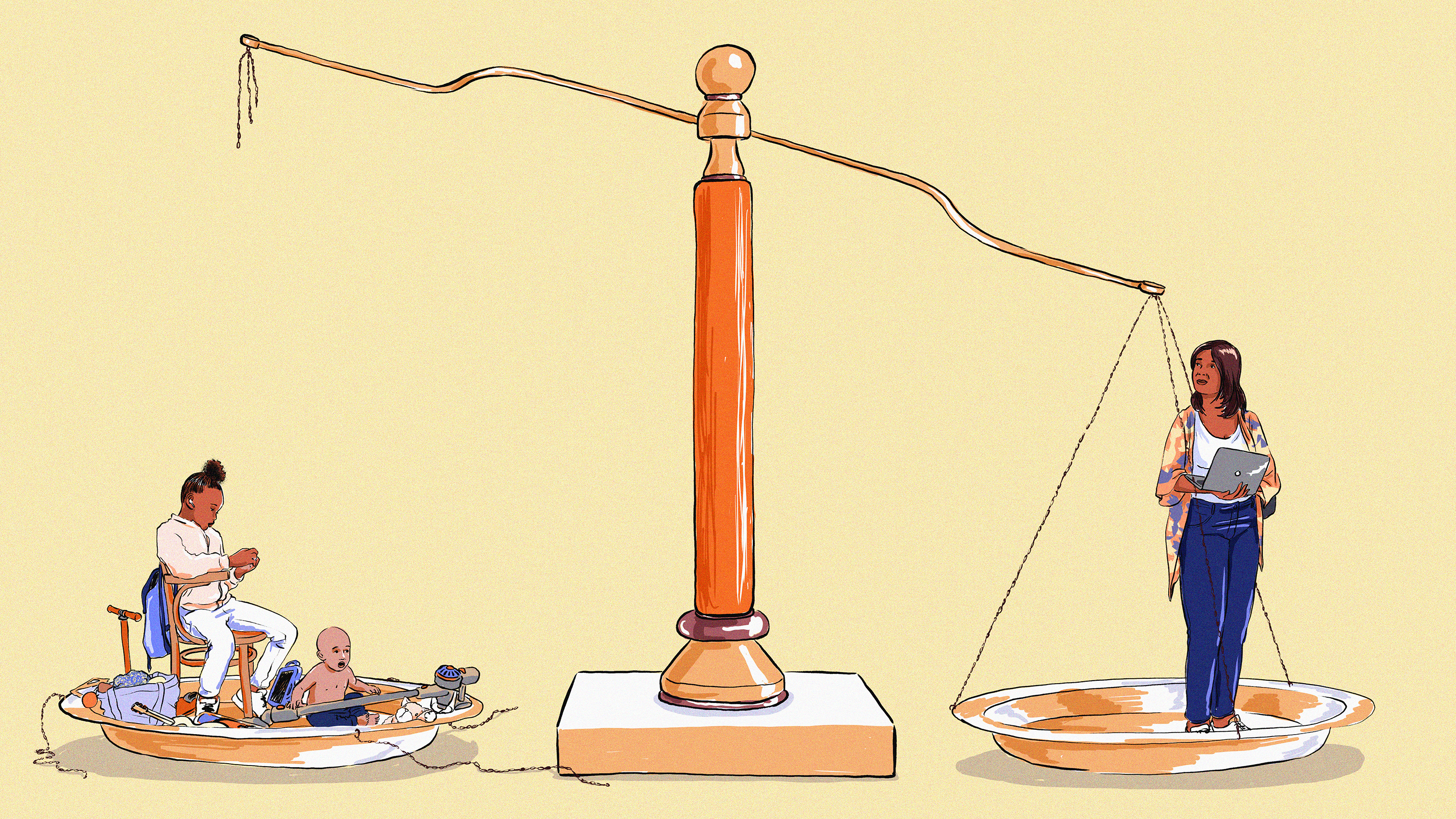 An illustration of a woman on a broken balancing scale, with one side representing motherhood and the other work.