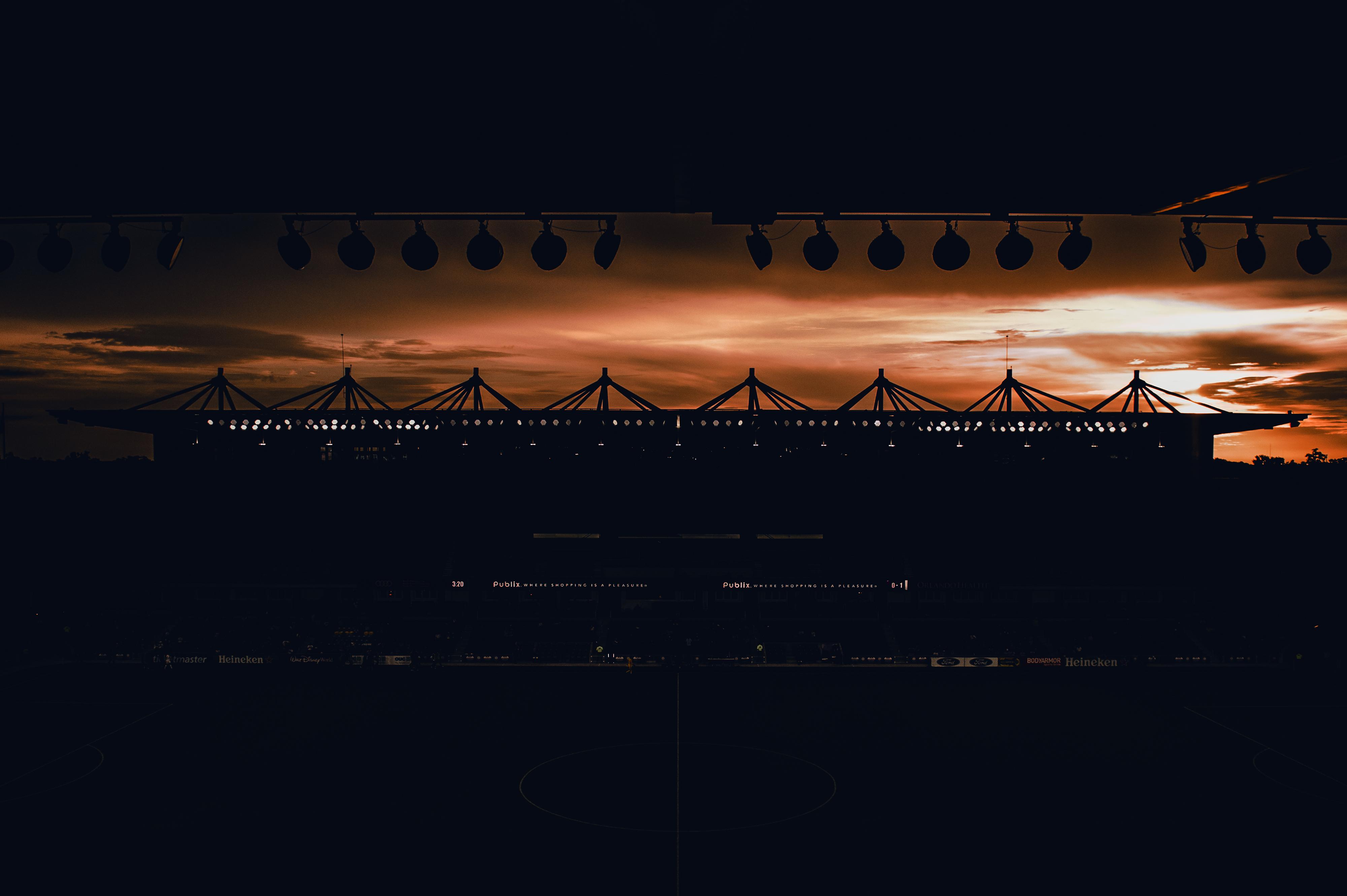 Exploria Stadium during a sunset.