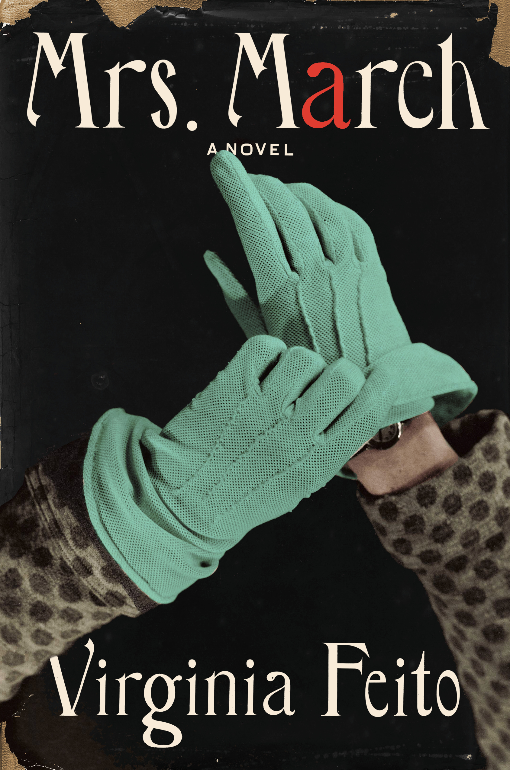 A pair of mint green gloves on a black background