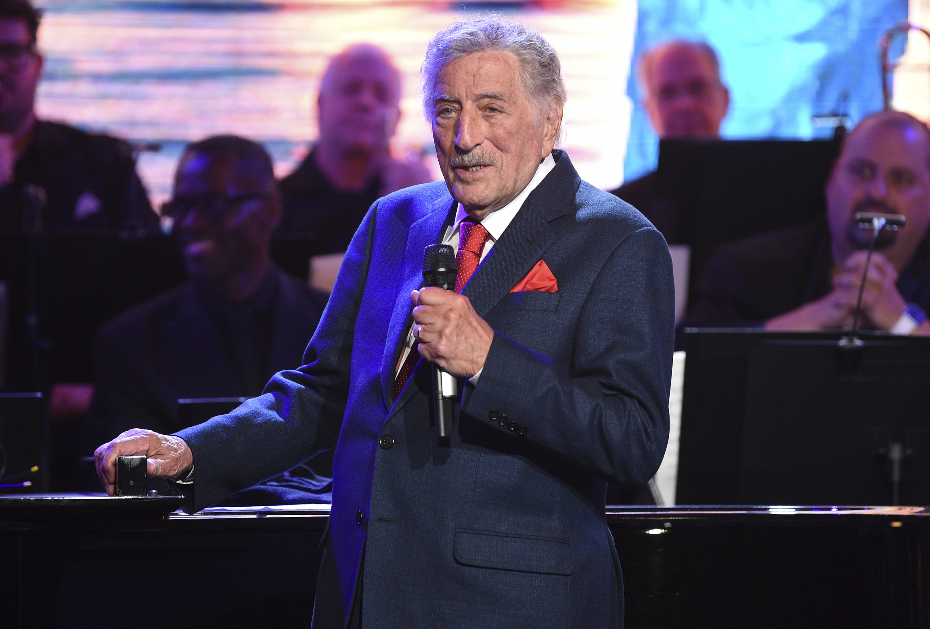 Tony Bennett performs at the Statue of Liberty Museum opening celebration on May 15, 2019, in New York.