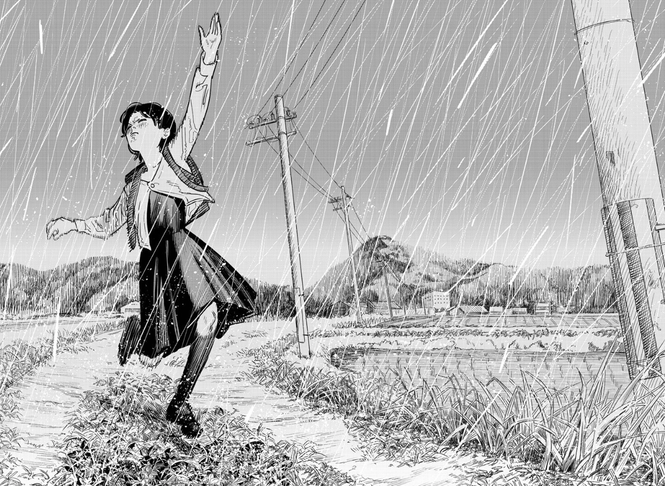 a girl reaching up to the sky as it rains