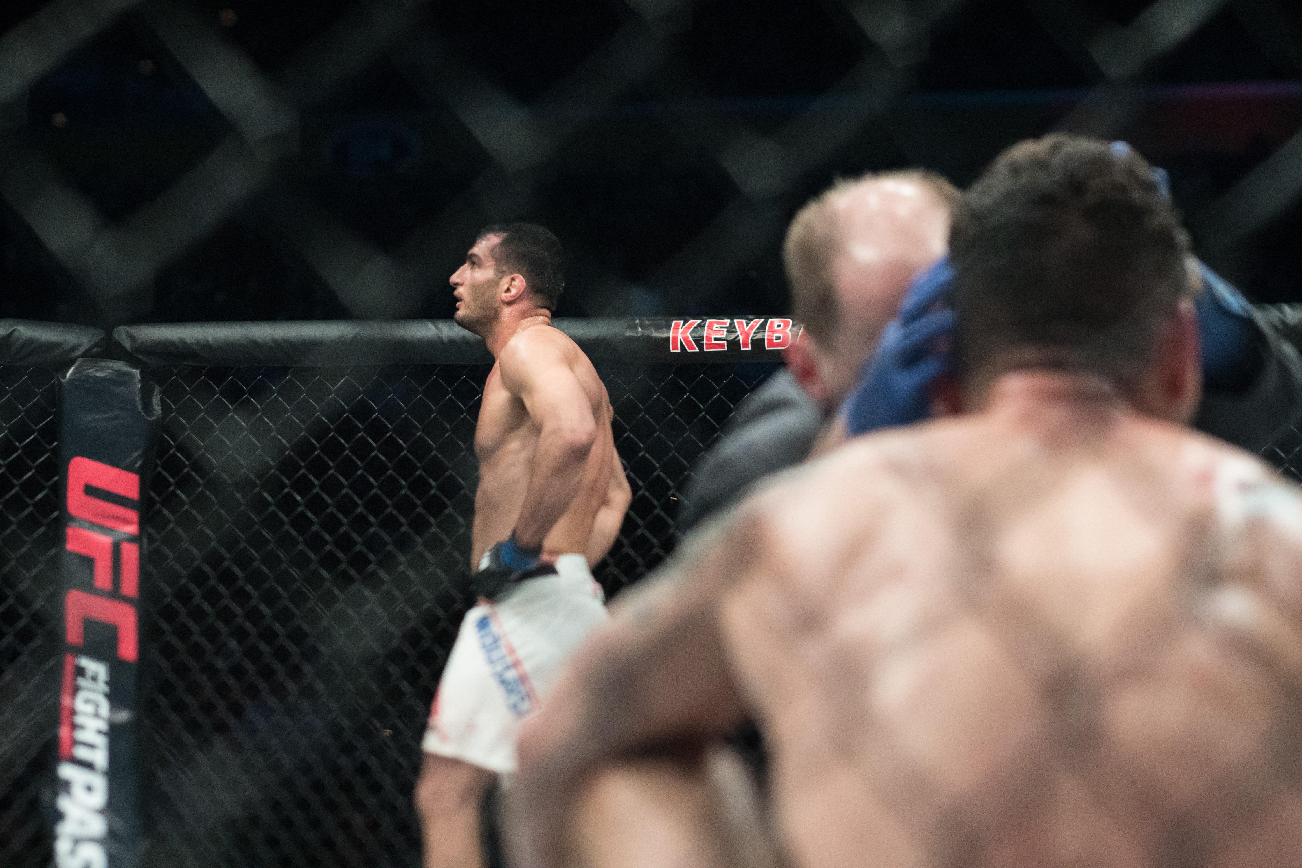 Gegard Mousasi paces in the Octagon after defeating Chris Weidman via TKO at UFC 210.