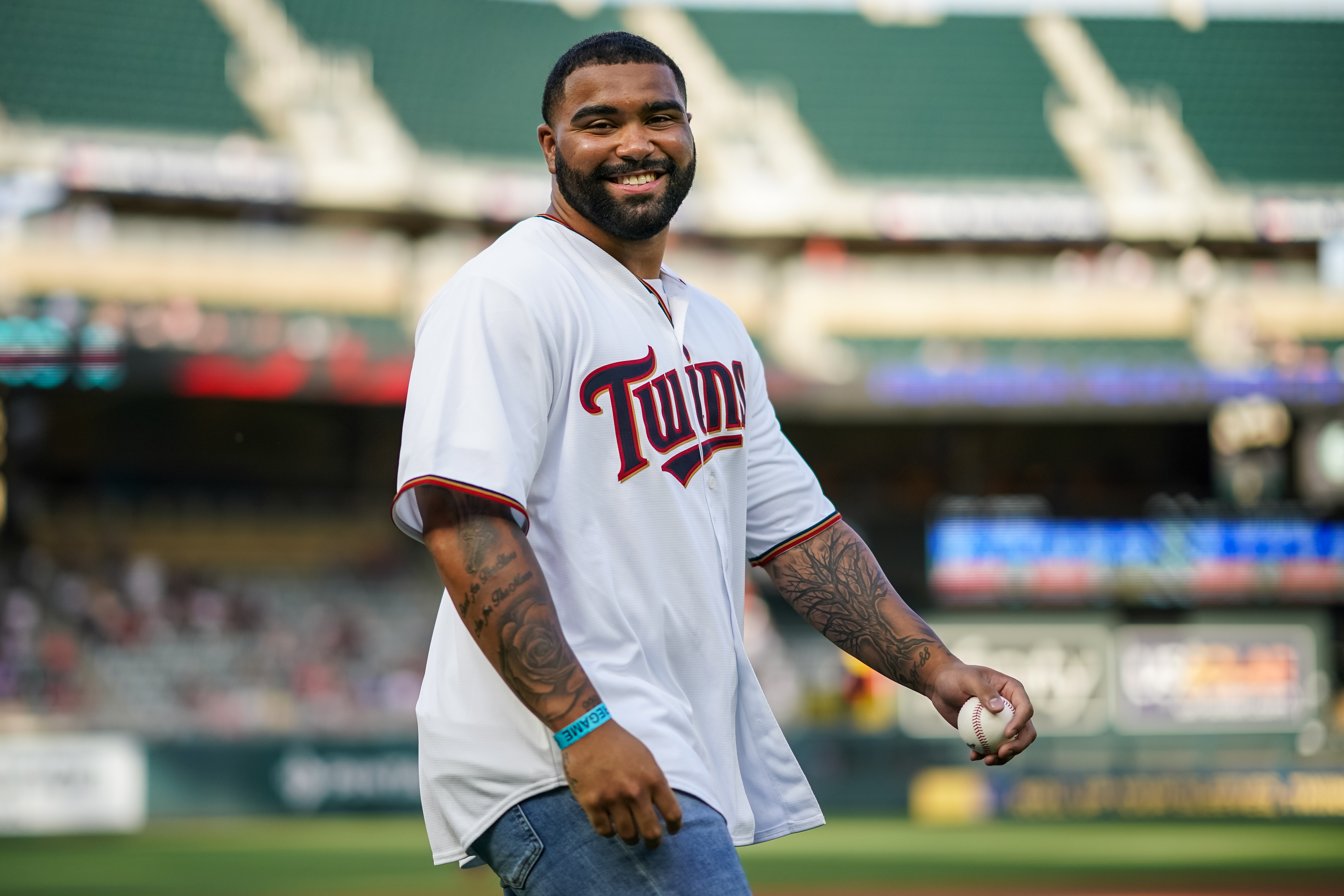 Gable Steveson throws out the first pitch at a recent Minnesota Twins game.