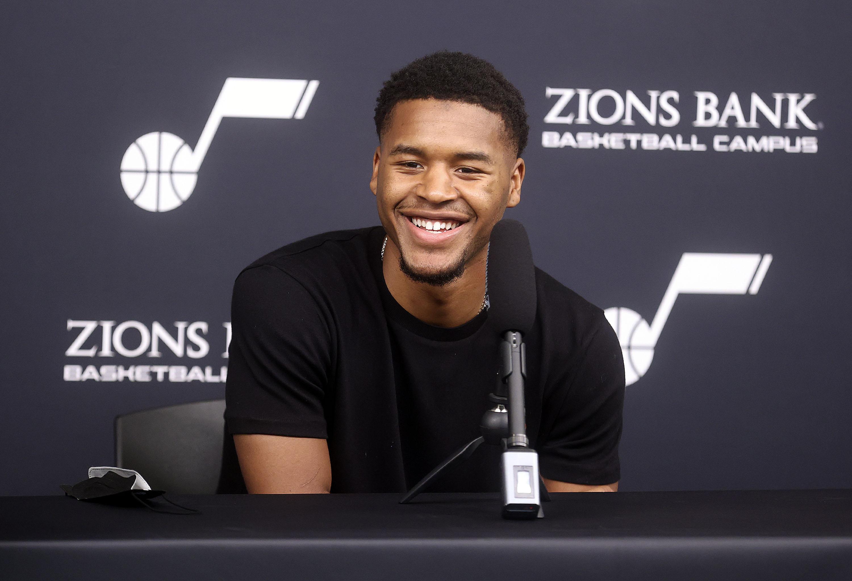 Utah Jazz guard Jared Butler speaks during a press conference in Salt Lake City.