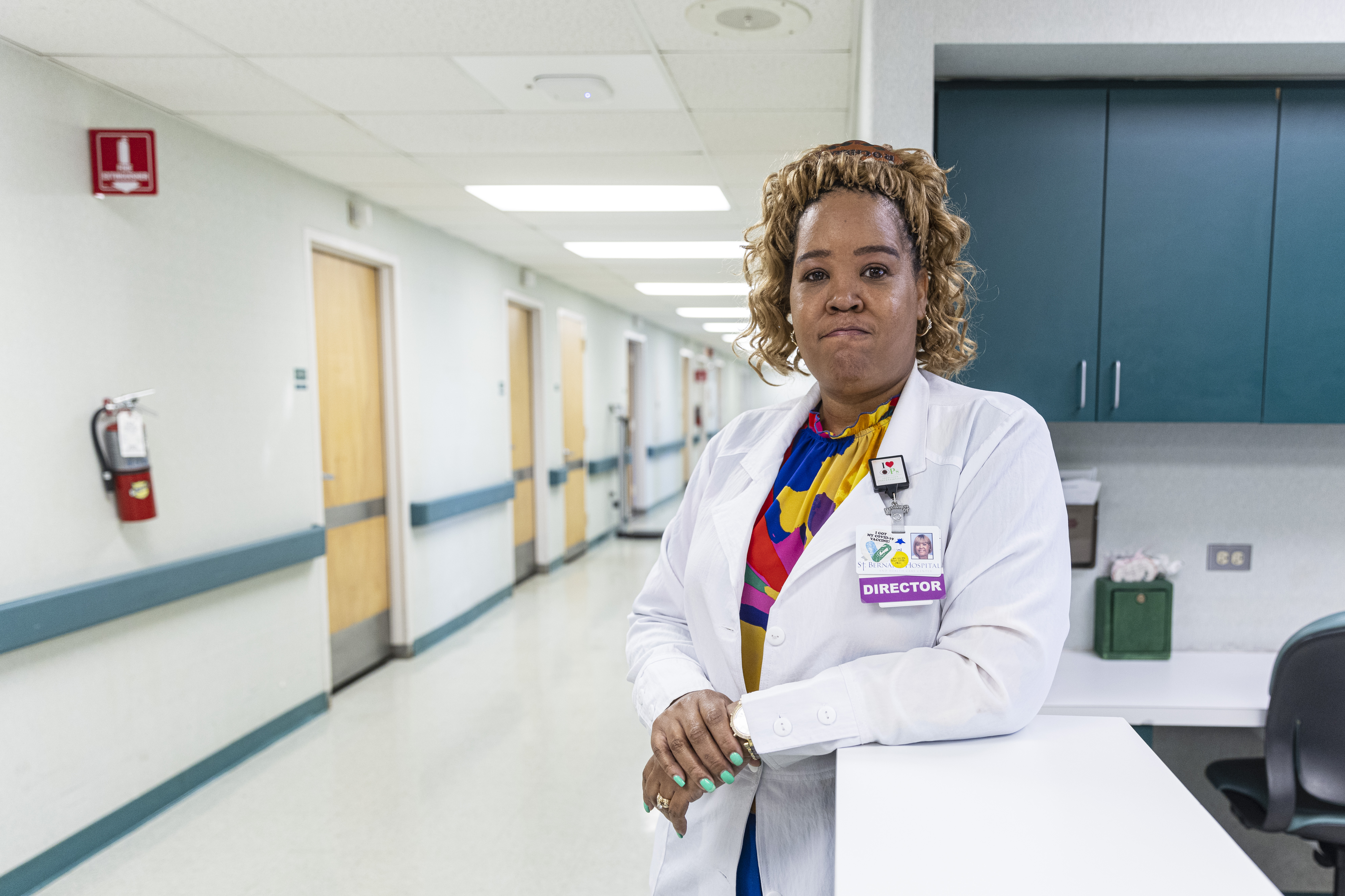 Rochelle Bello, director of infection prevention at St. Bernard Hospital, worries about the latest COVID surge in largely unvaccinated Englewood.