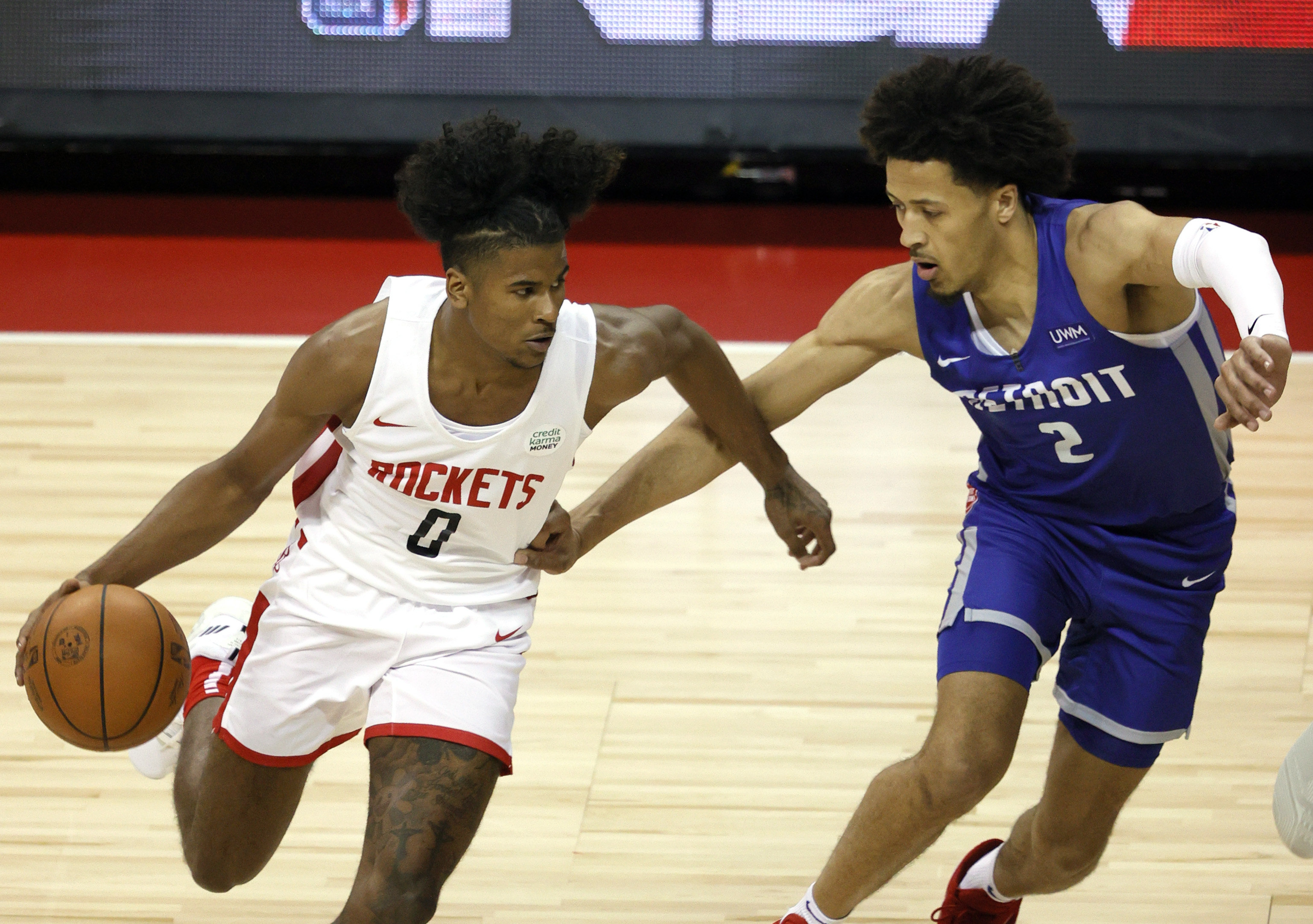 Jalen Green #0 of the Houston Rockets drives against Cade Cunningham #2 of the Detroit Pistons during the 2021 NBA Summer League at the Thomas & Mack Center on August 10, 2021 in Las Vegas, Nevada.
