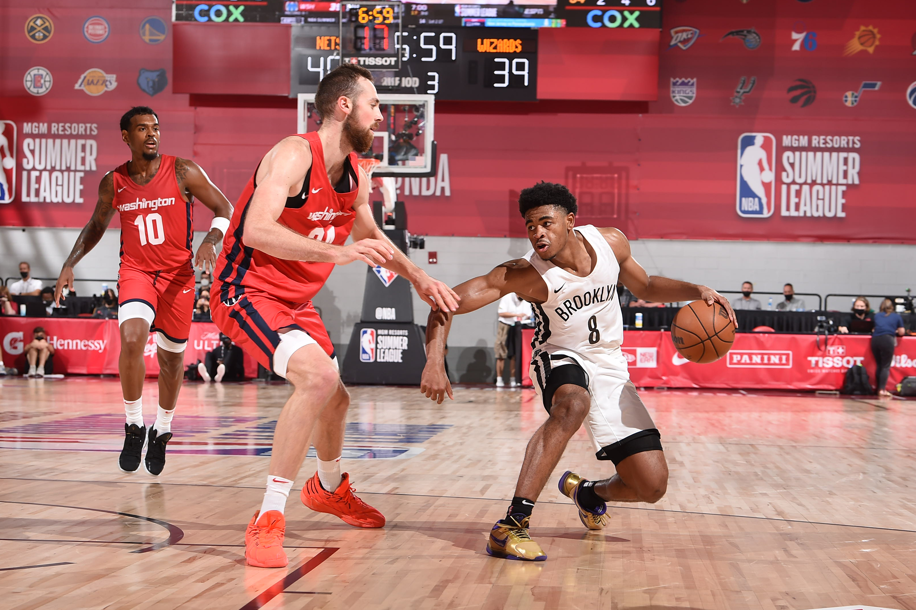 Cam Thomas #8 of the Brooklyn Nets drives to the basket against the Washington Wizards during the 2021 Las Vegas Summer League on August 12, 2021 at the Cox Pavilion in Las Vegas, Nevada.