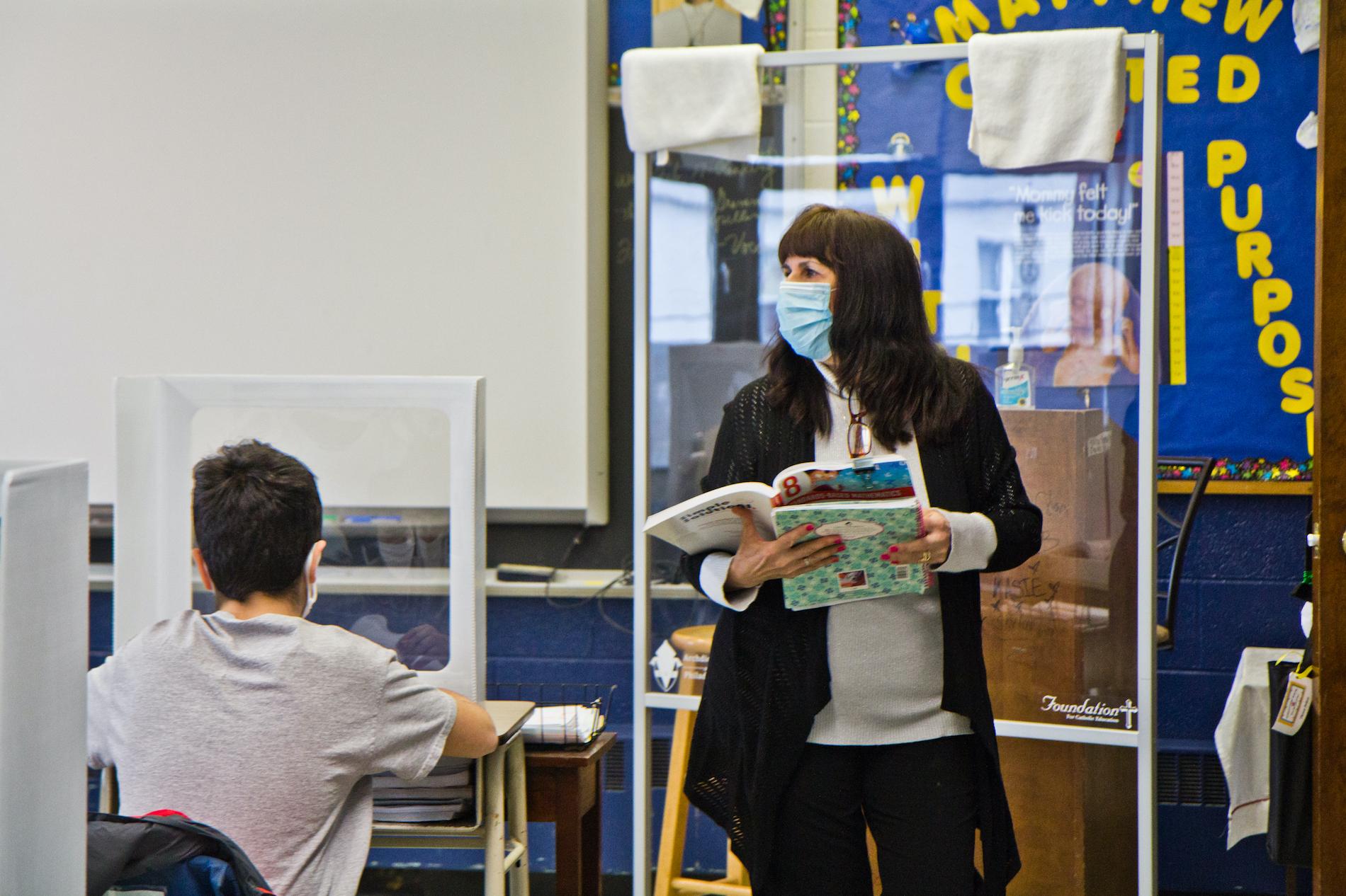 Eighth grade teacher Theresa Polizzi in her class at St. Pio Regional Catholic School in South Philadelphia.