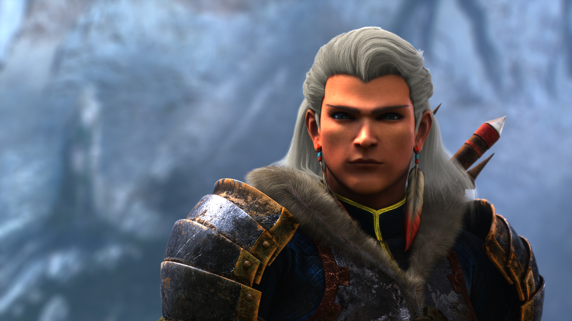 Julius, the snow-haired, Geralt-looking veteran hunter from the short animated film Monster Hunter: Legends of the Guild