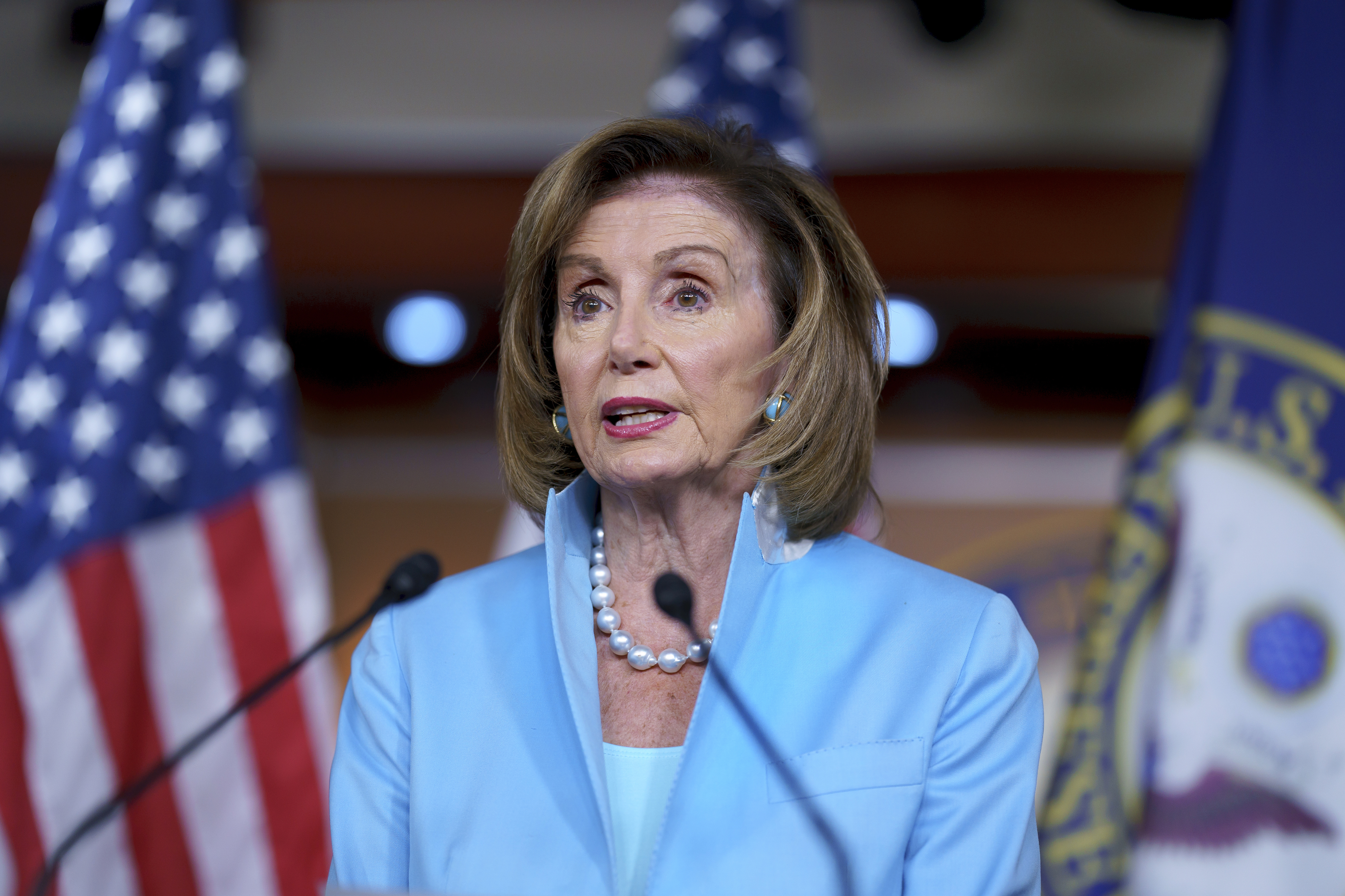 House Speaker Nancy Pelosi meets with reporters Aug. 6.