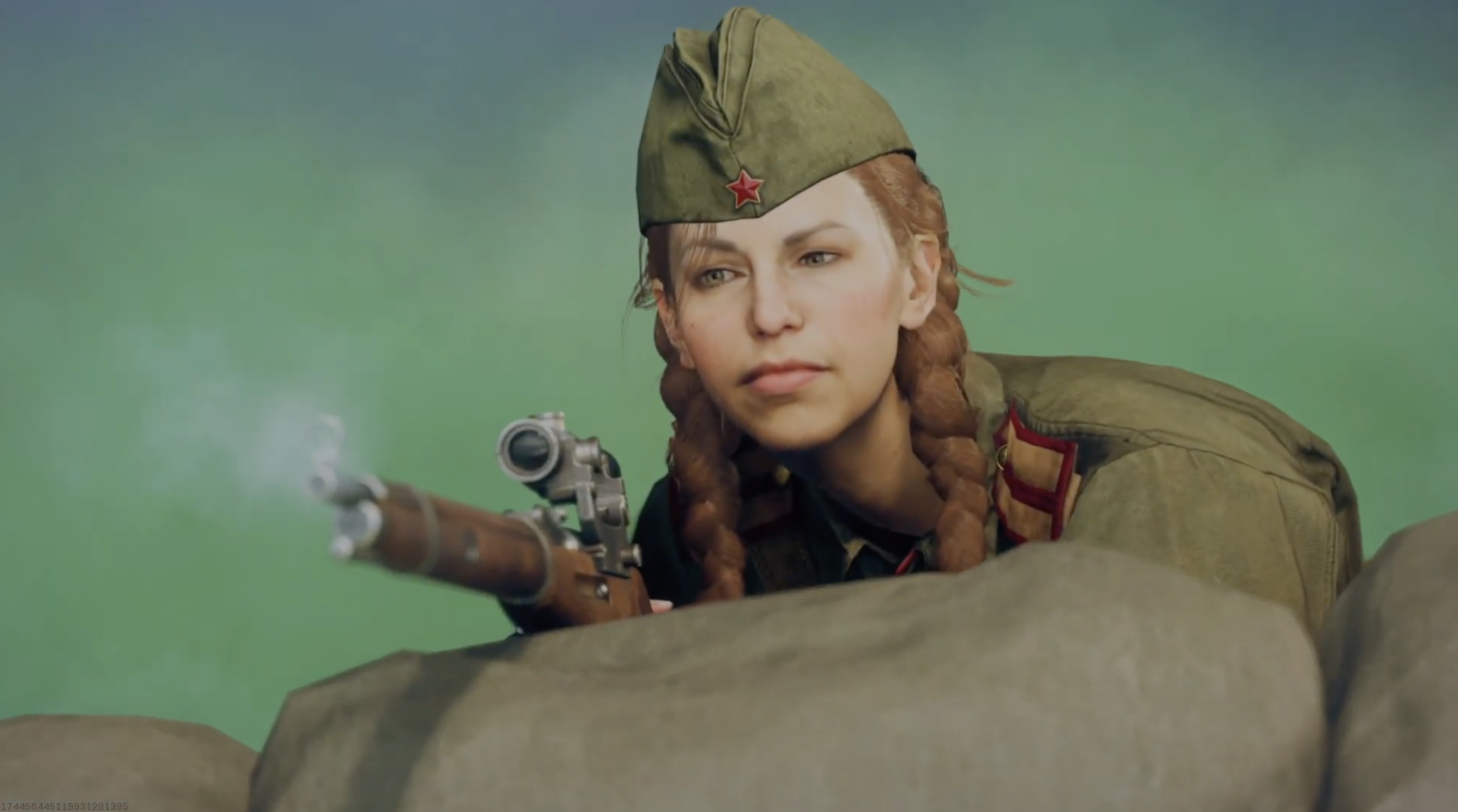 a redhead woman in a Soviet World War II uniform looks over after shooting someone. her rifle emits smoke after shooting