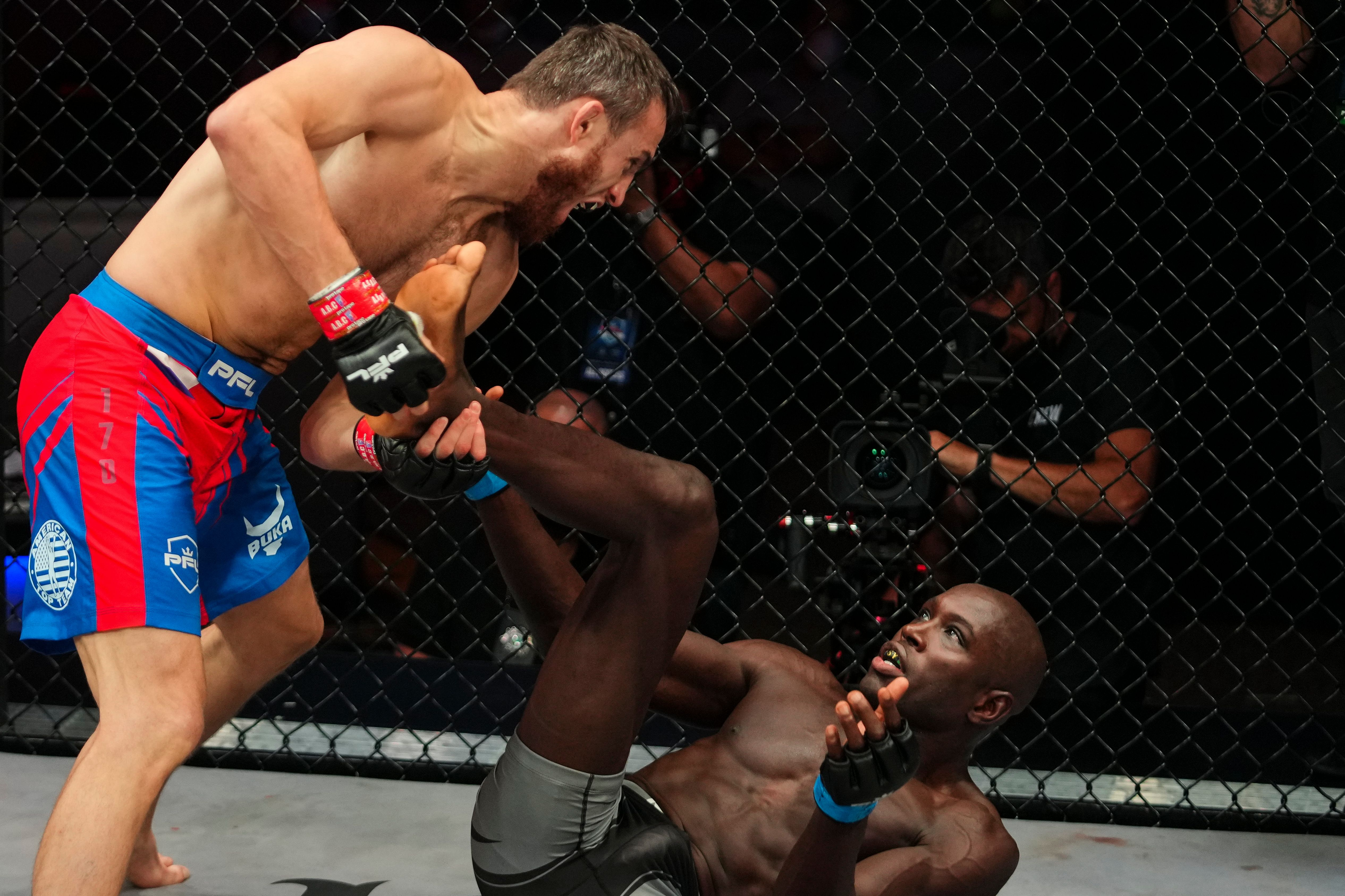 Magomed Magomedkerimov defeated Sadibou Sy in the PFL MMA welterweight semifinals.