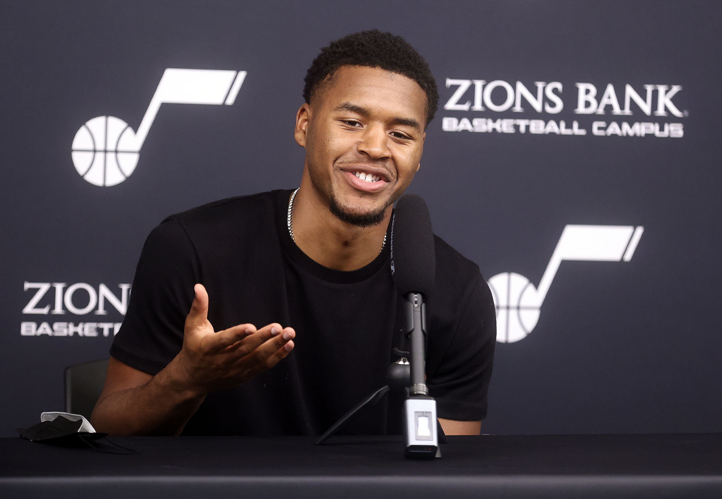 Utah Jazz guard Jared Butler speaks during a press conference at the Zions Bank Basketball Campus in Salt Lake City
