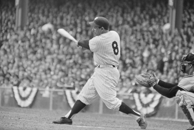 Side View of Yogi Berra Swinging Bat