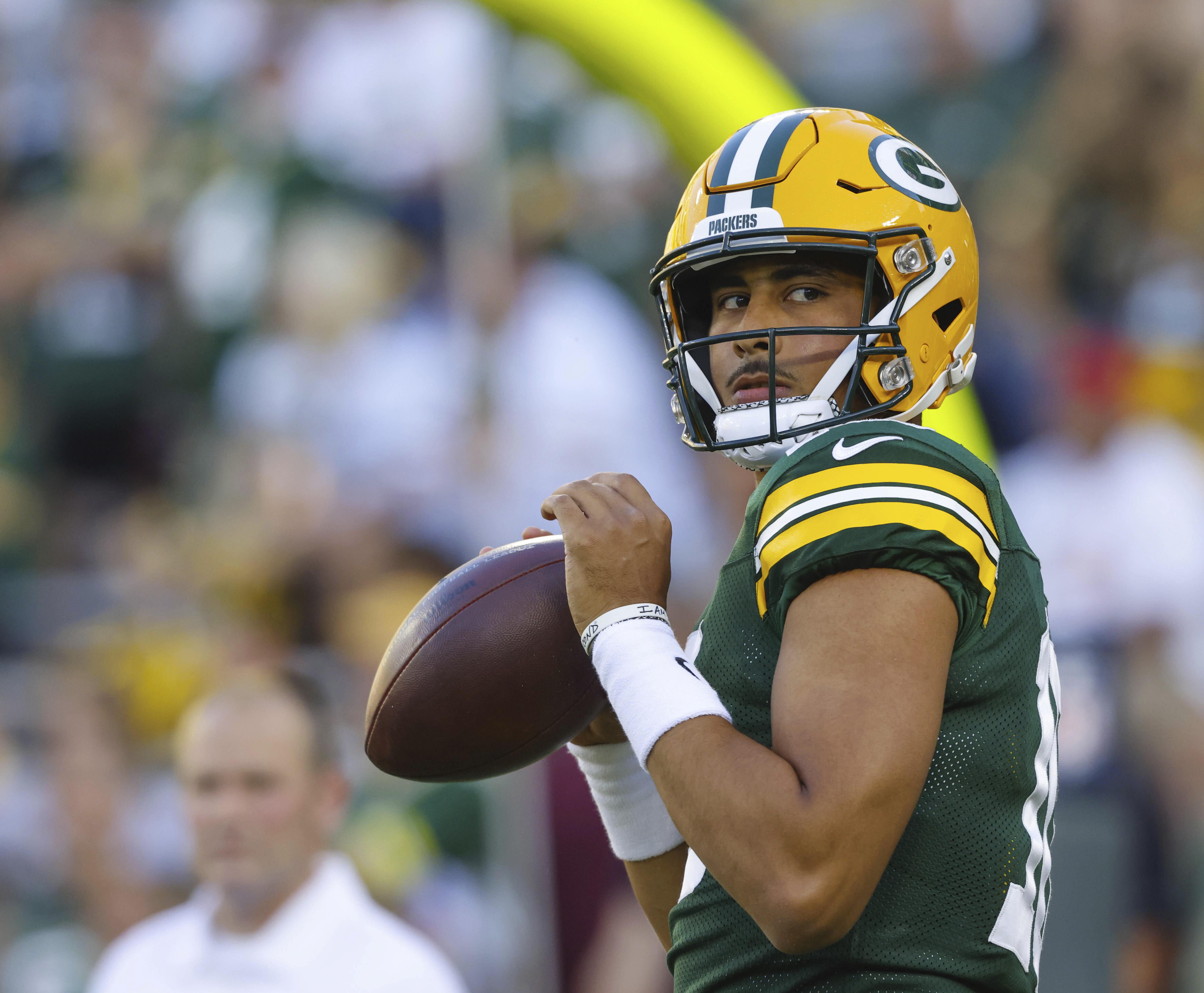 Green Bay Packers quarterback Jordan Love (10) during practice before the Packers' preseason game against the Houston Texans.