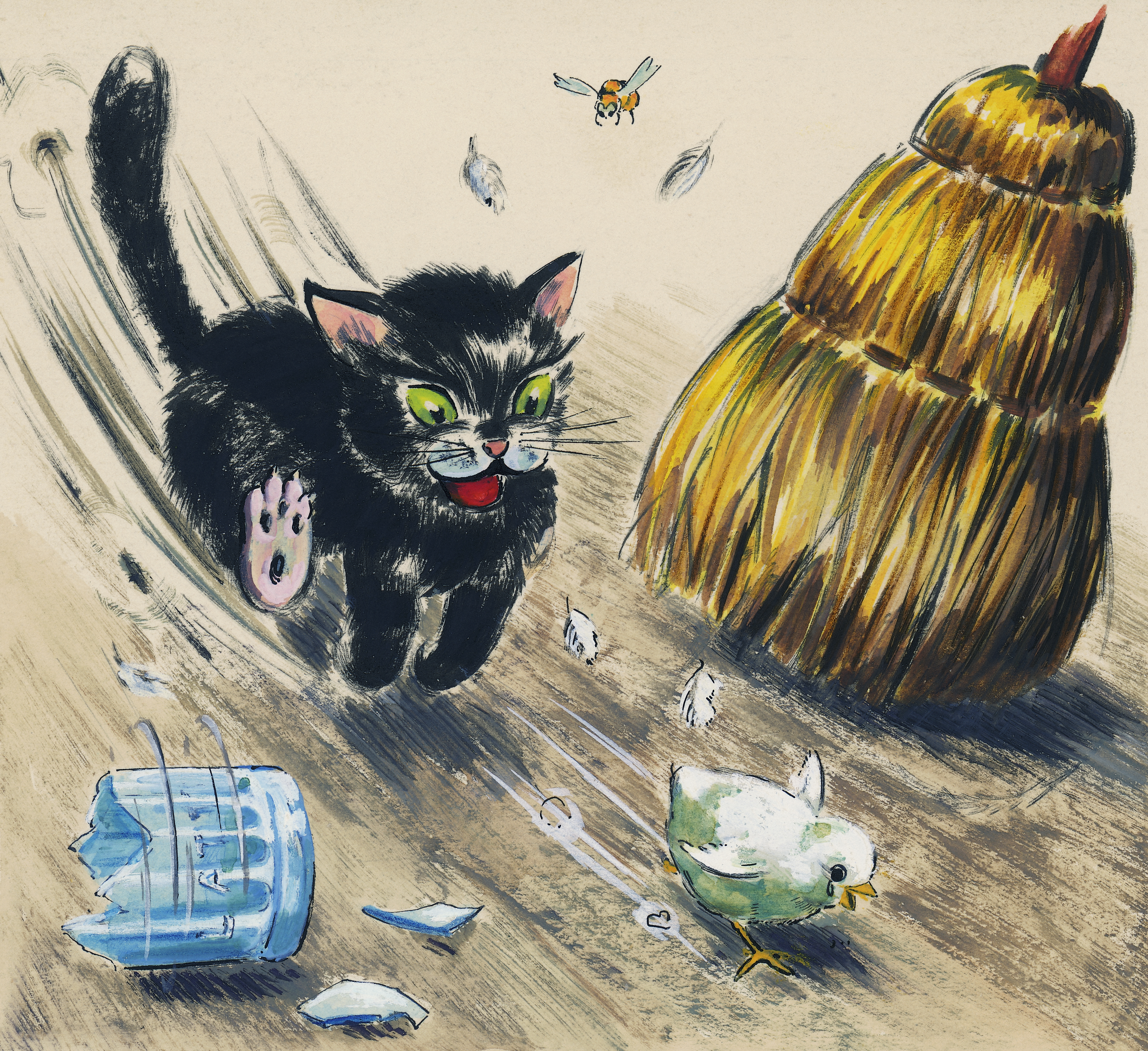 Cat chasing chick, children's illustration, drawing