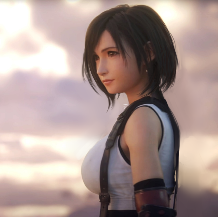An artists render of Tifa Lockhart from Final Fantasy 7 with short hair. She's looking off into the distance