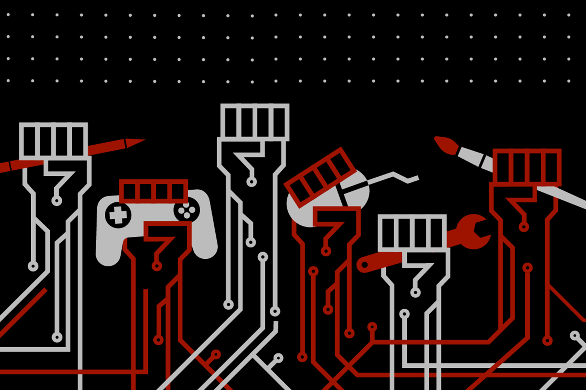 A stylize graphic of six fists raised in solidarity. One holds a pencil, another a mouse, still another a video game controller.