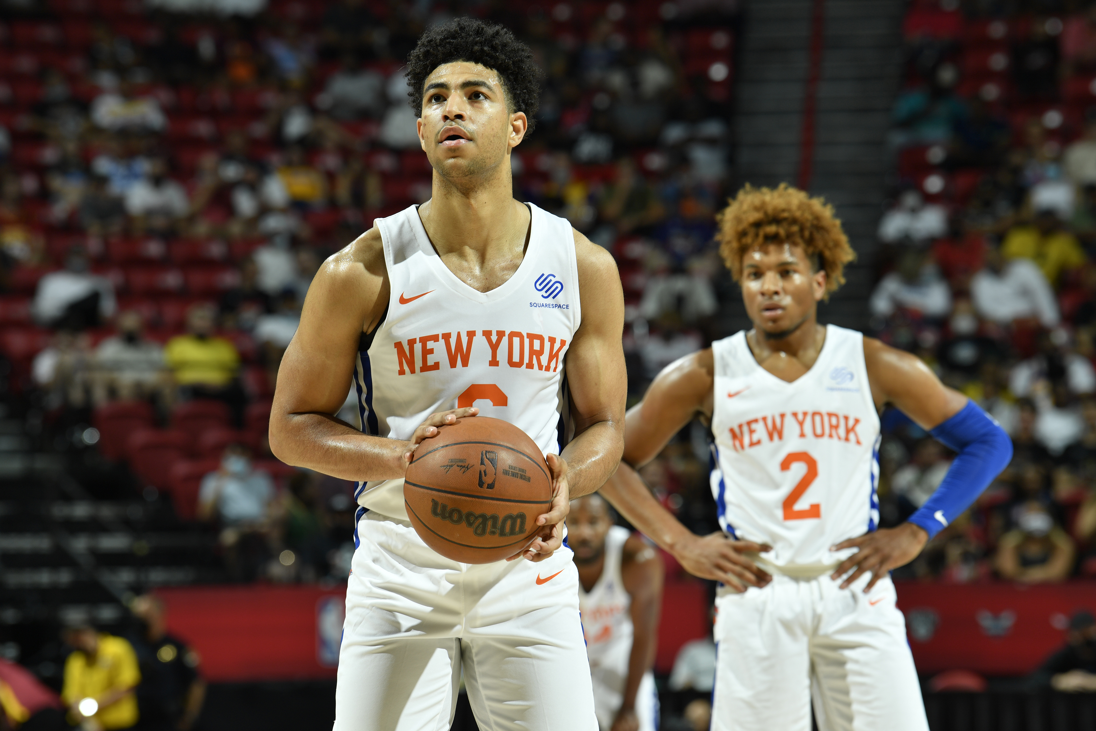 Quentin Grimes #6 of the New York Knicks looks to shoot a free throw against the Cleveland Cavaliers during the 2021 Las Vegas Summer League on August 14, 2021 at the Thomas & Mack Center in Las Vegas, Nevada.