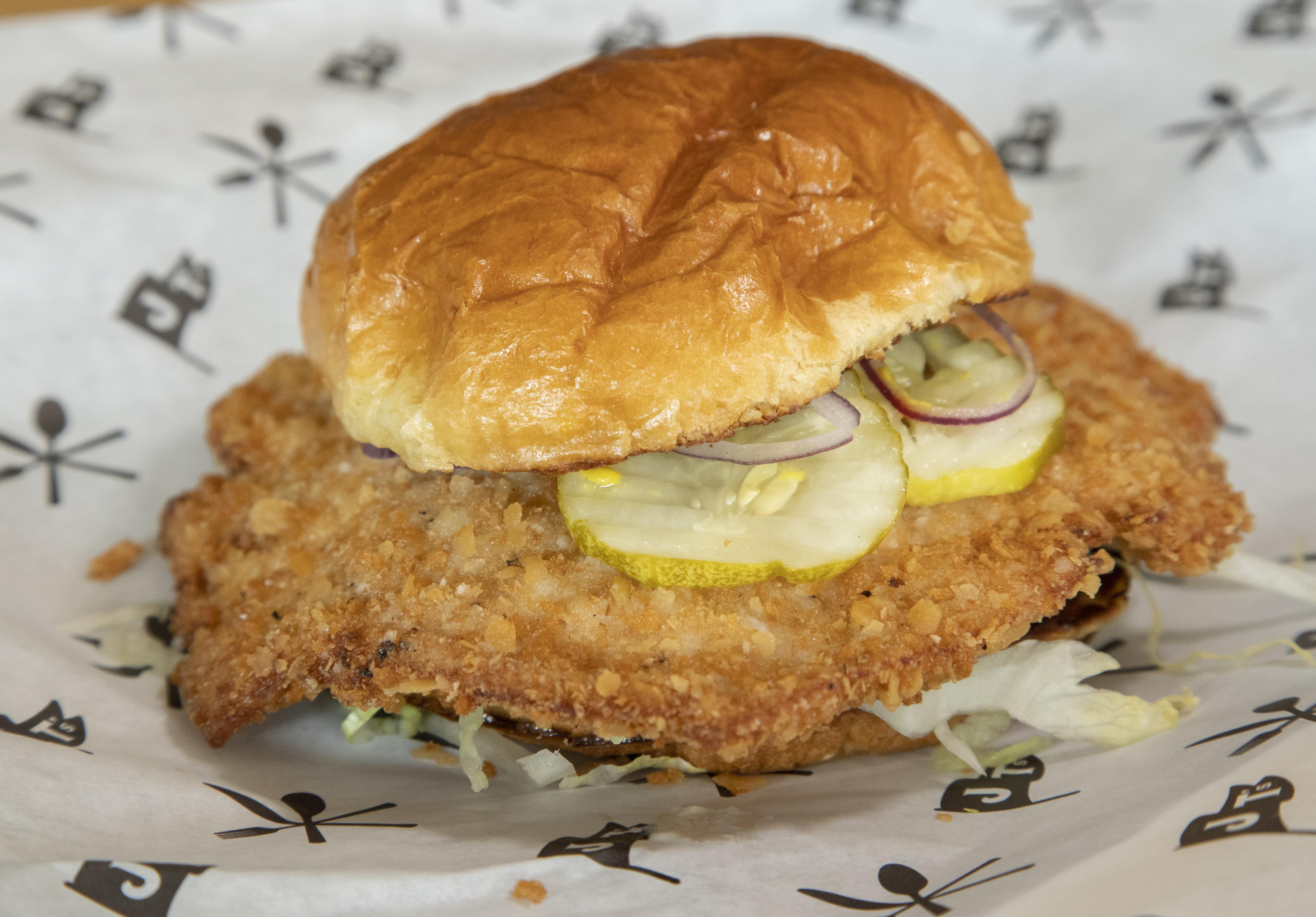 The breaded pork tenderloin sandwich at J.T.'s Genuine Sandwich Shop.