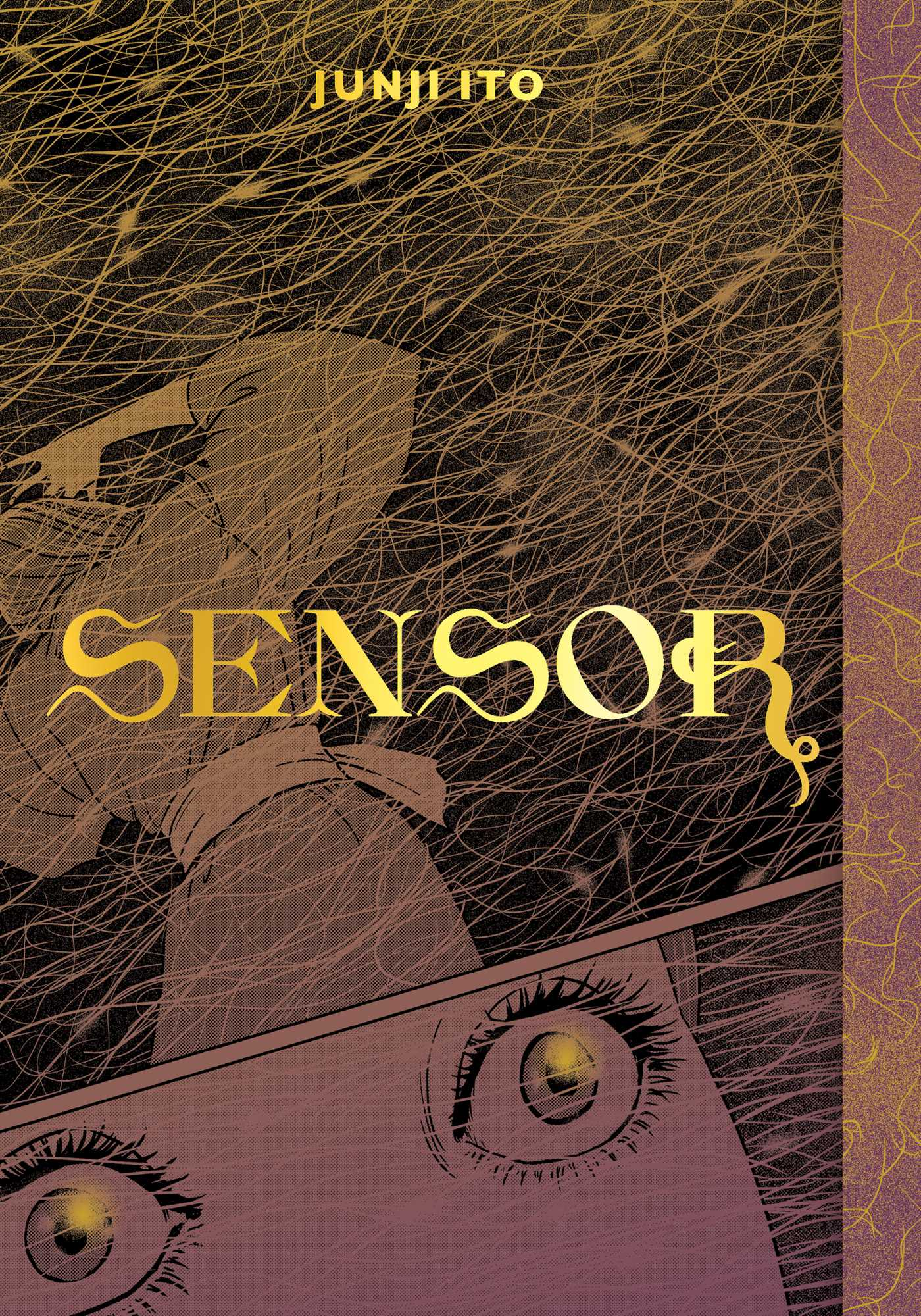 A woman cowers, eyes frightened, at the center of a mass of golden hairs, on the cover of Sensor.