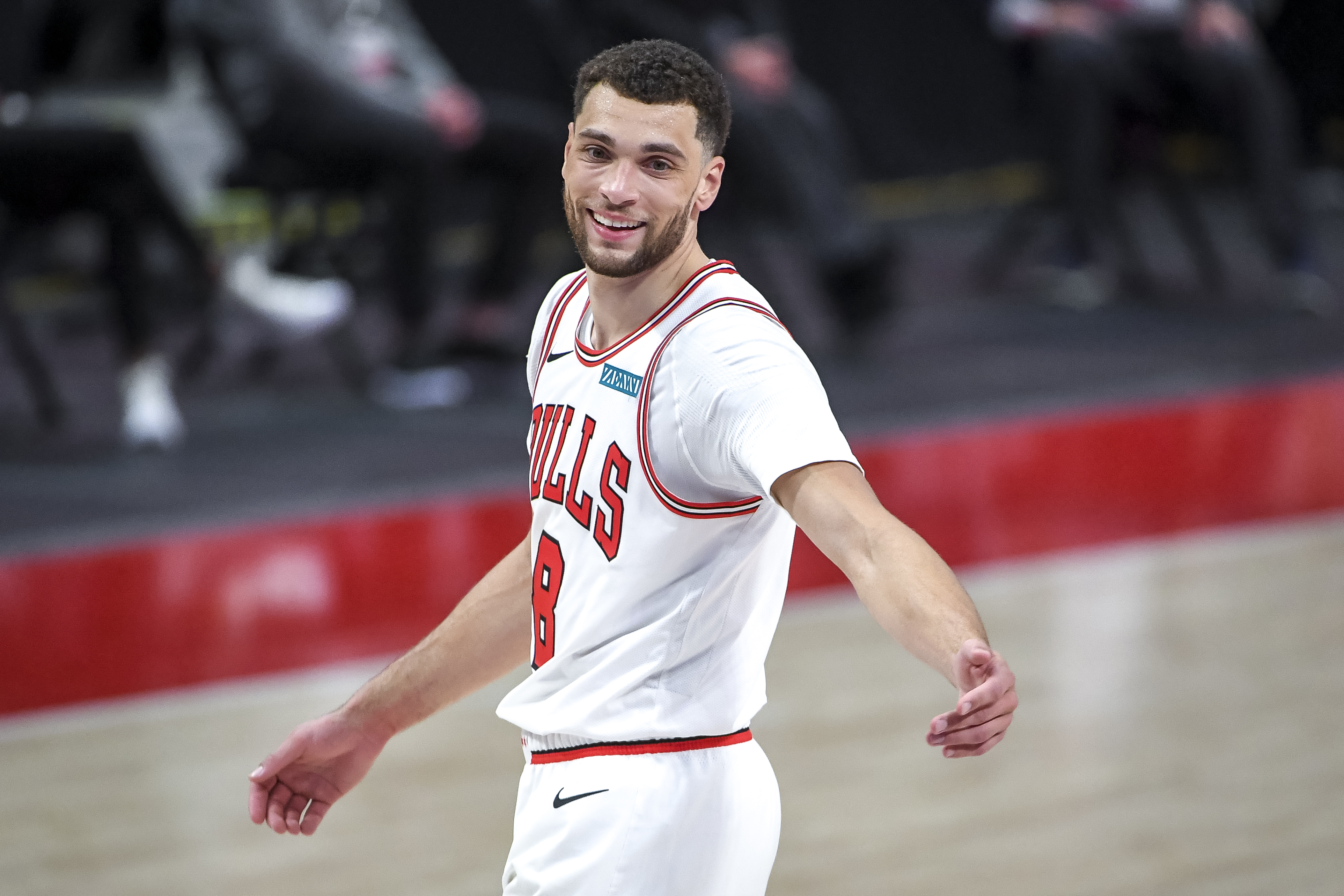 Zach LaVine #8 of the Chicago Bulls smiles during the second quarter of the NBA game against the Detroit Pistons at Little Caesars Arena on May 09, 2021 in Detroit, Michigan.
