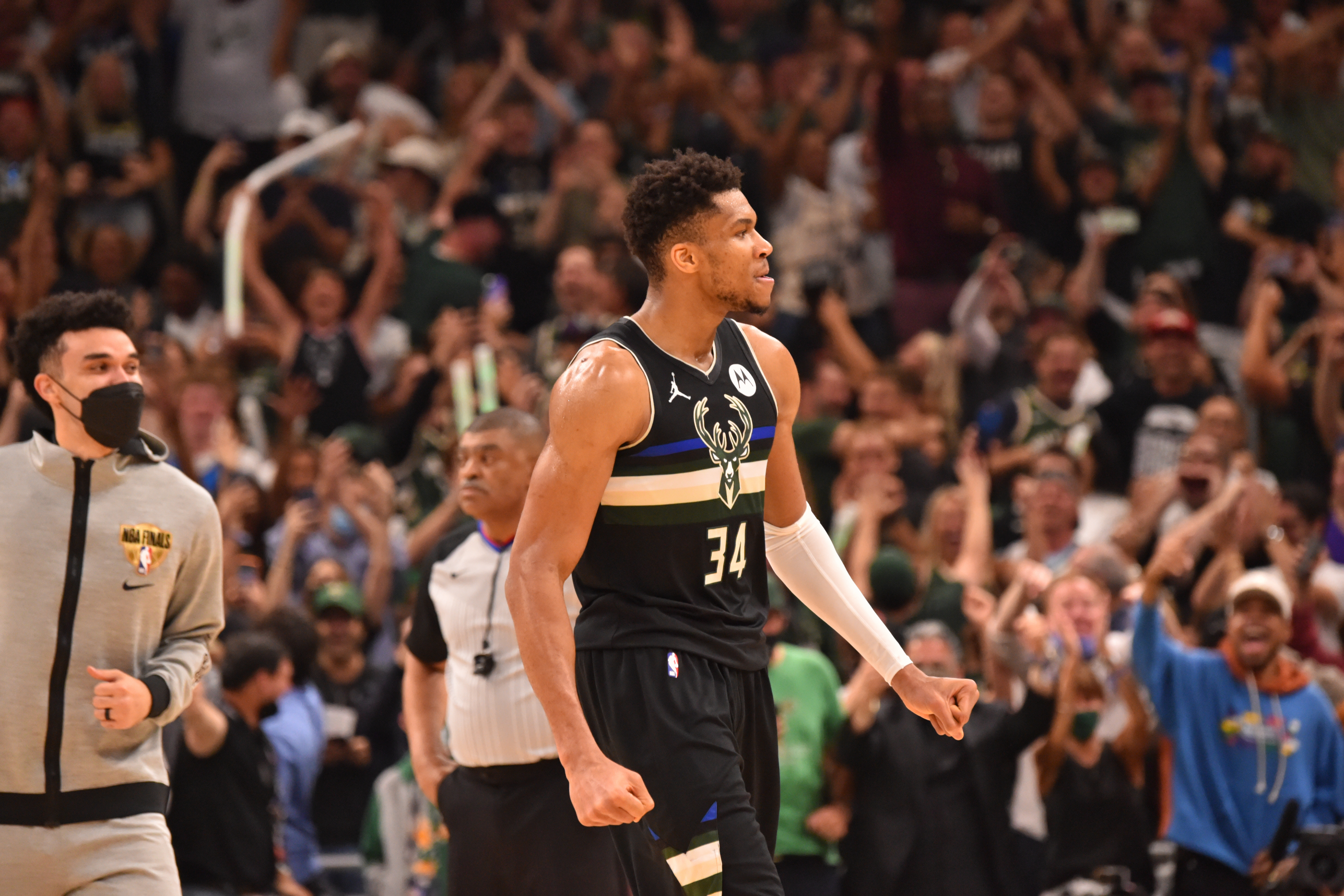 Giannis Antetokounmpo #34 of the Milwaukee Bucks reacts during Game Six of the 2021 NBA Finals on July 20, 2021 at Fiserv Forum in Milwaukee, Wisconsin.