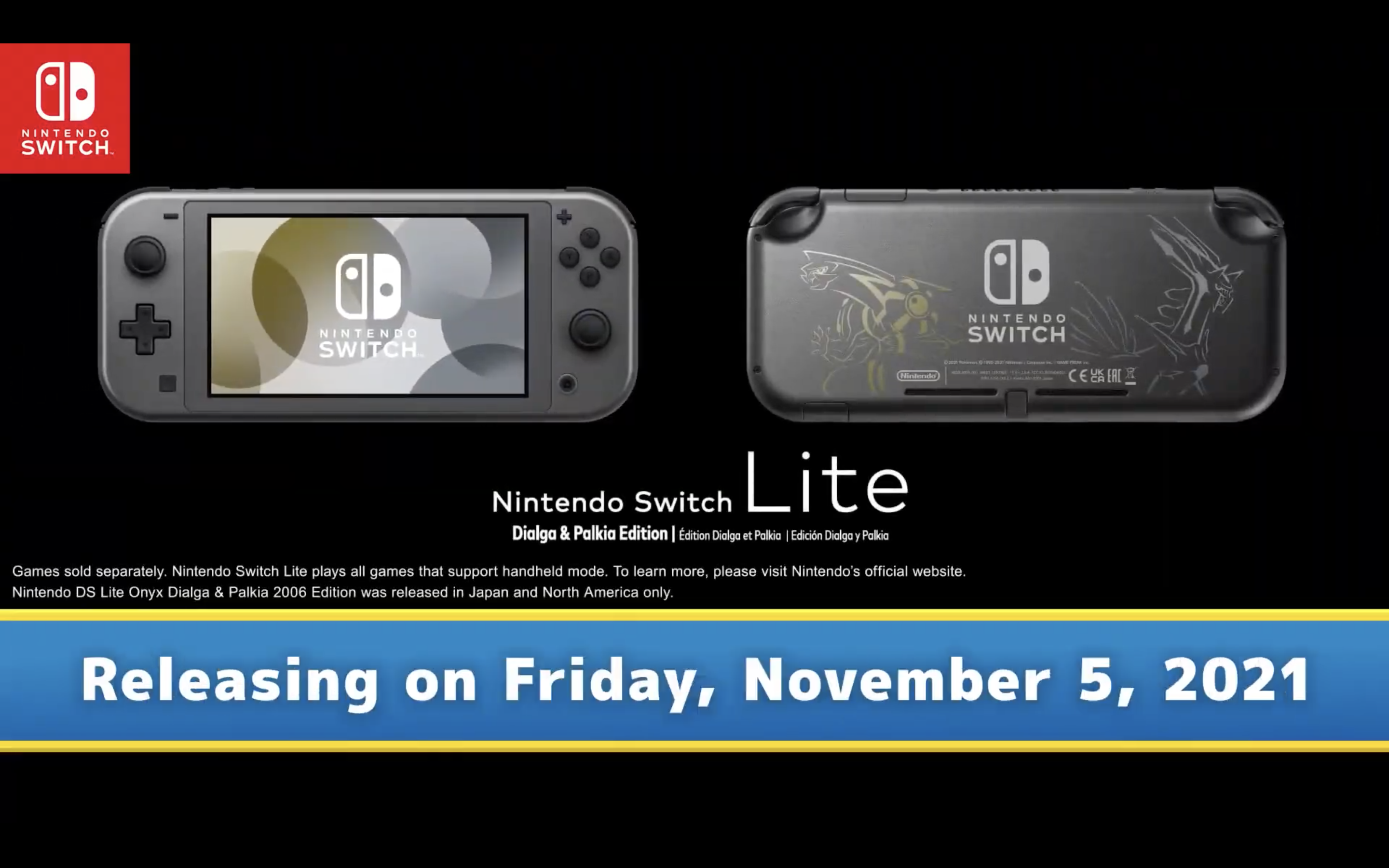 a graphic of a black Nintendo Switch lite with gold and silver decals of the Pokemon Palkia and Dialga on the back