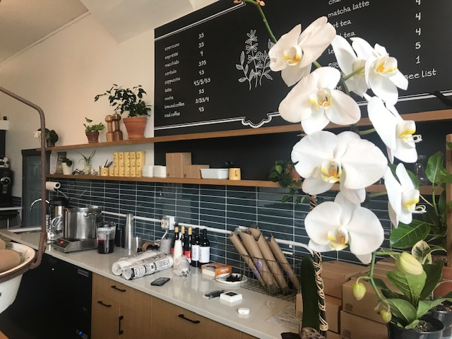 The blackboard coffee menu and counter at Volunteer Park Cafe with white flowers in the foreground.