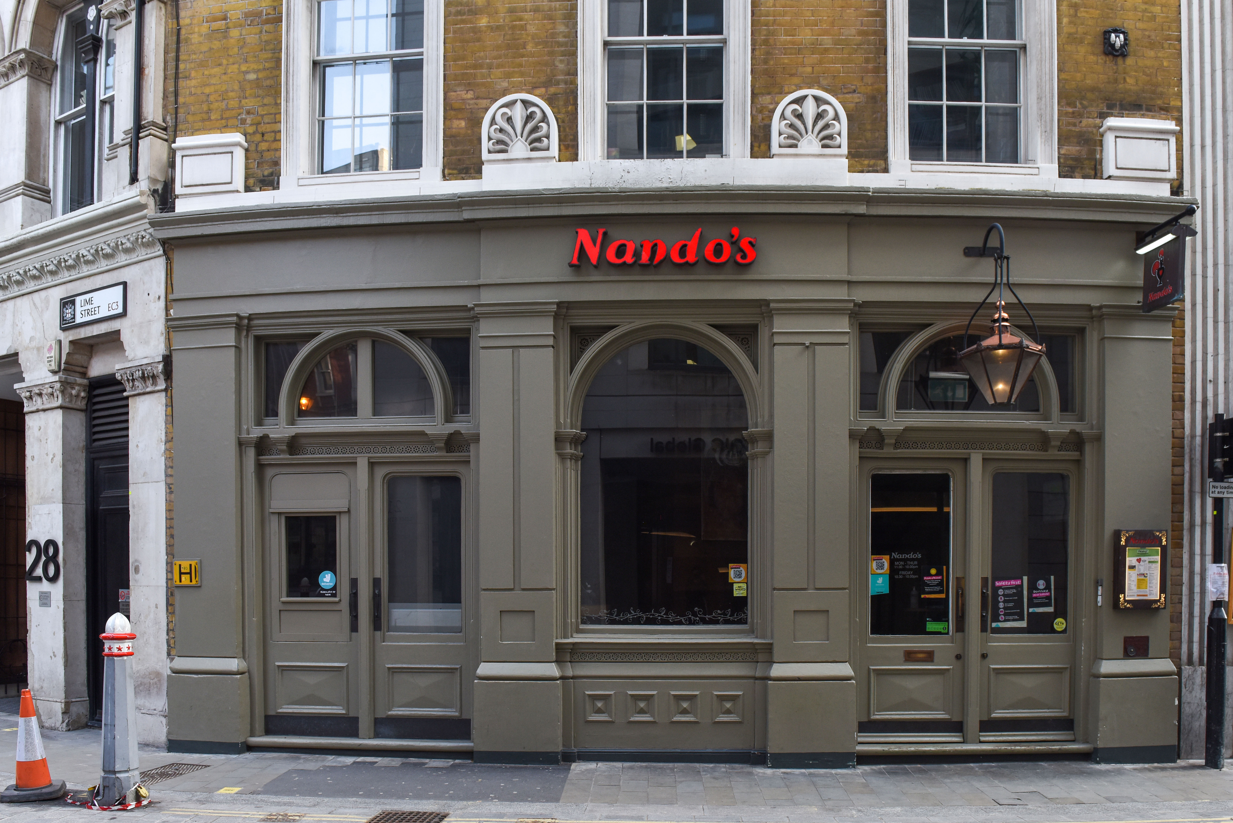 Closed Nando's restaurant seen in central London...