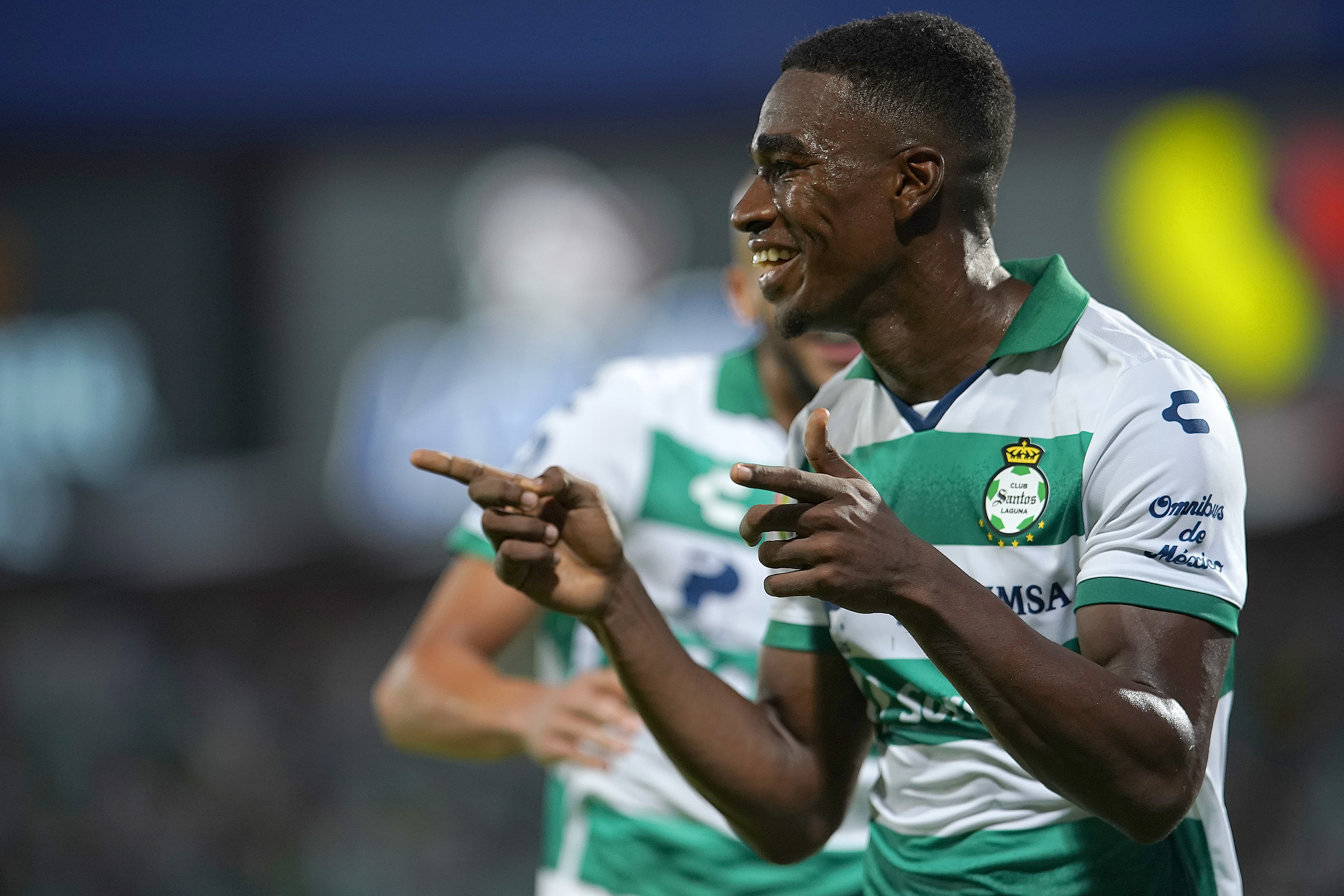 Felix Torres of Santos celebrates after scoring the first goal of his team during the 5th round match between Santos Laguna and Atlas as part of the Torneo Grita Mexico A21 at Corona Stadium on August 18, 2021 in Torreon, Mexico.
