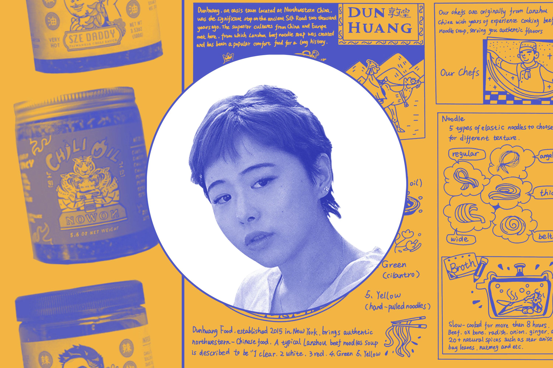 A photoillustration featuring design work by Meijun Li and her portrait in the center.
