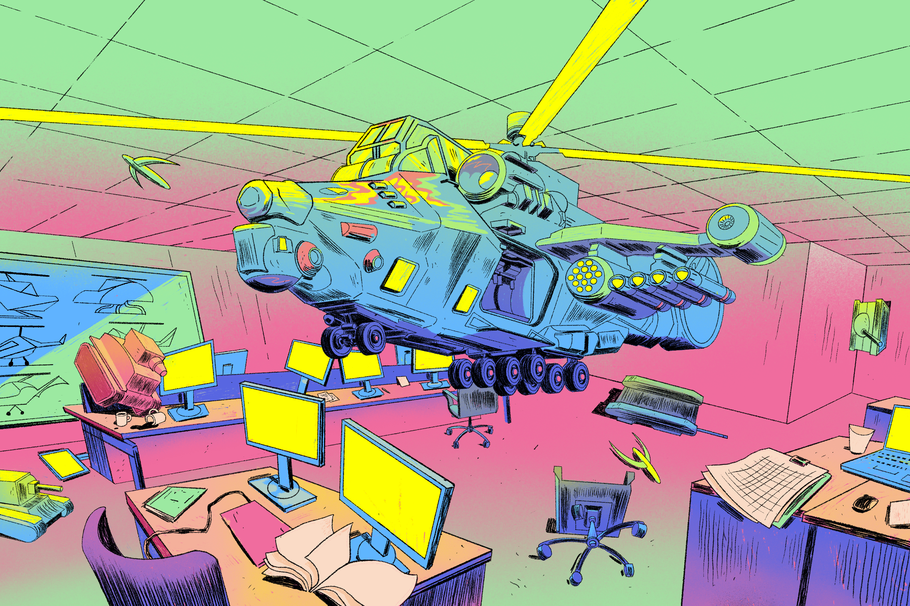 A helicopter hovers inside an office, causing a mess