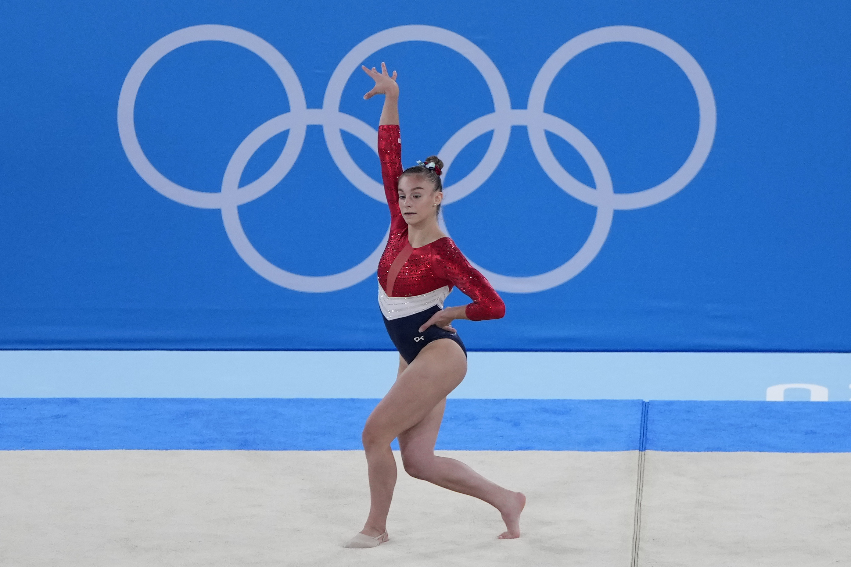Grace McCallum performs on the floor at the 2020 Summer Olympics.