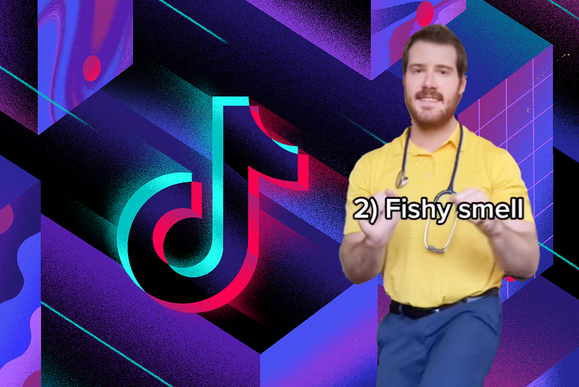 """a graphic that has a TikTok logo, and an image of a man dancing over it. it reads """"1) fishy smell"""""""