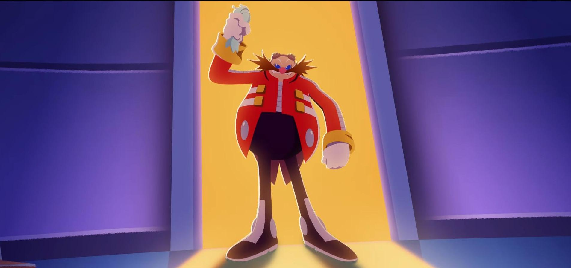 Sonic Colors - Dr. Eggman stands menacingly in a brightly lit doorway in Sonic Colors: Rise of the Wisps animation