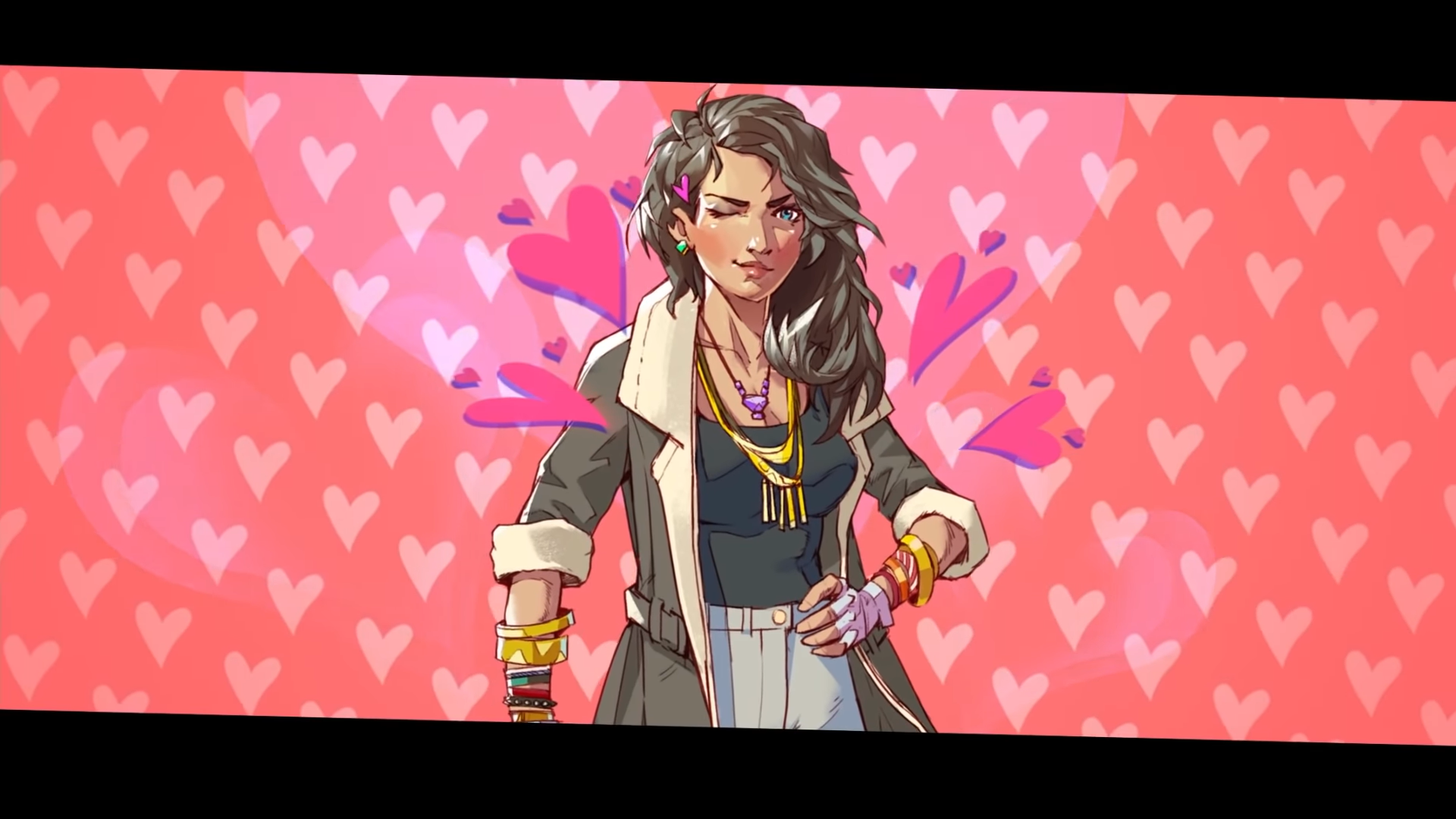 a woman with a gold necklace and lots of bracelets, with brown hair. she is standing in front of a background with pink hearts and she's also winking